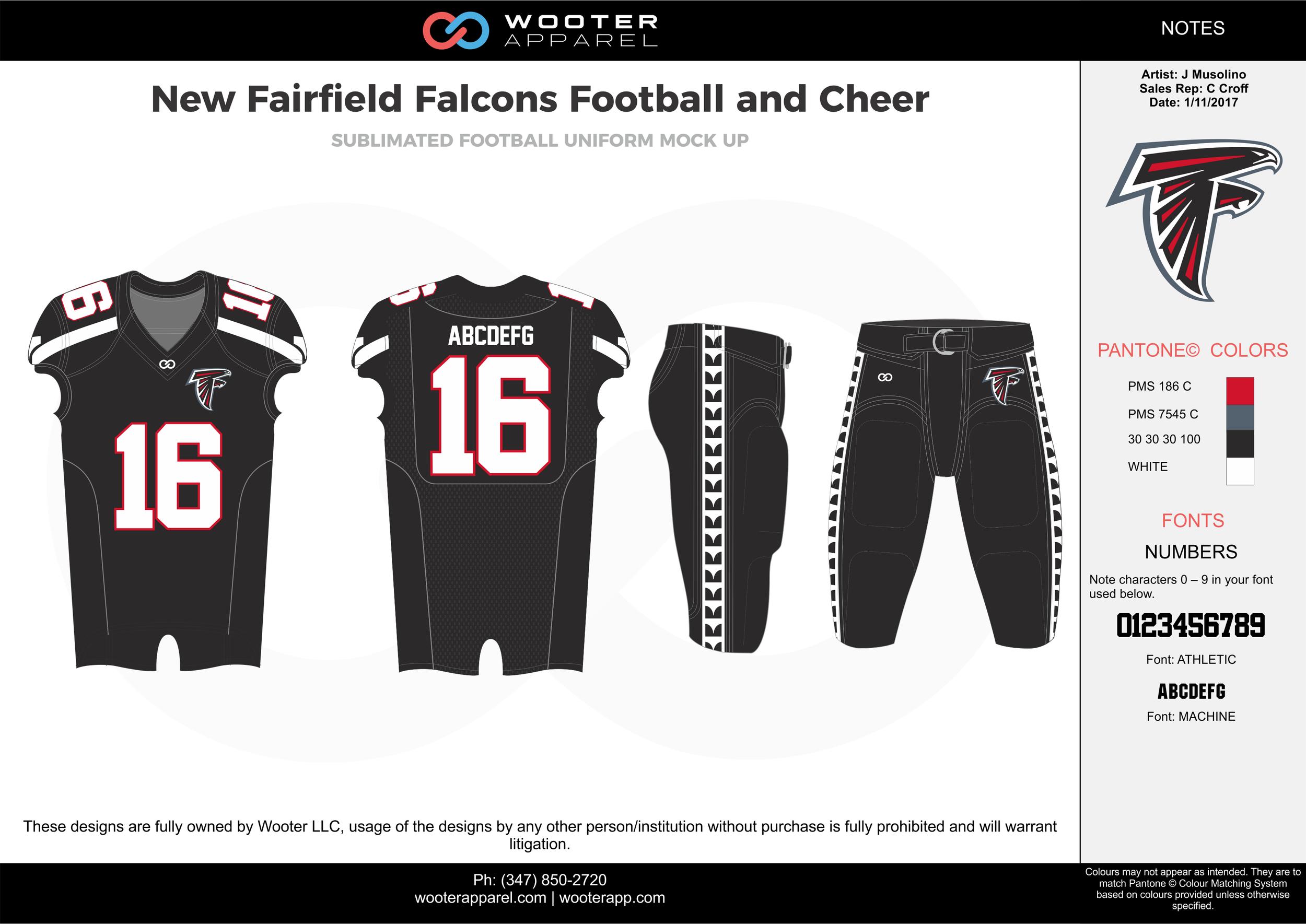 New Fairfield Falcons black gray red white football uniforms jerseys pants