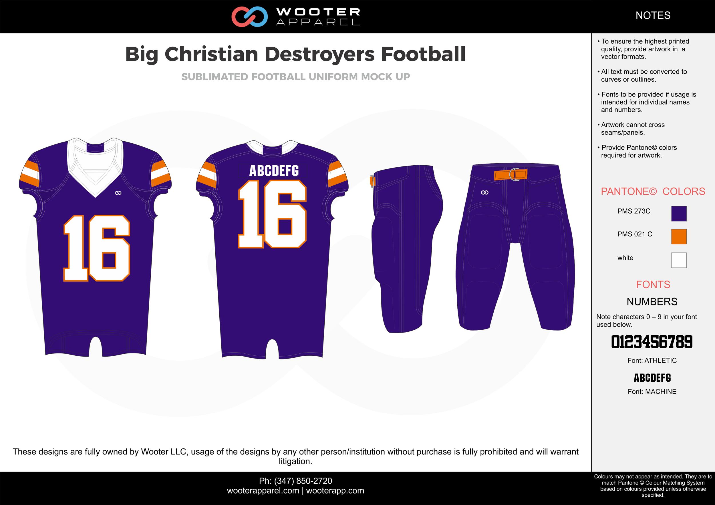 Big Christian Destroyers purple orange white football uniforms jerseys pants