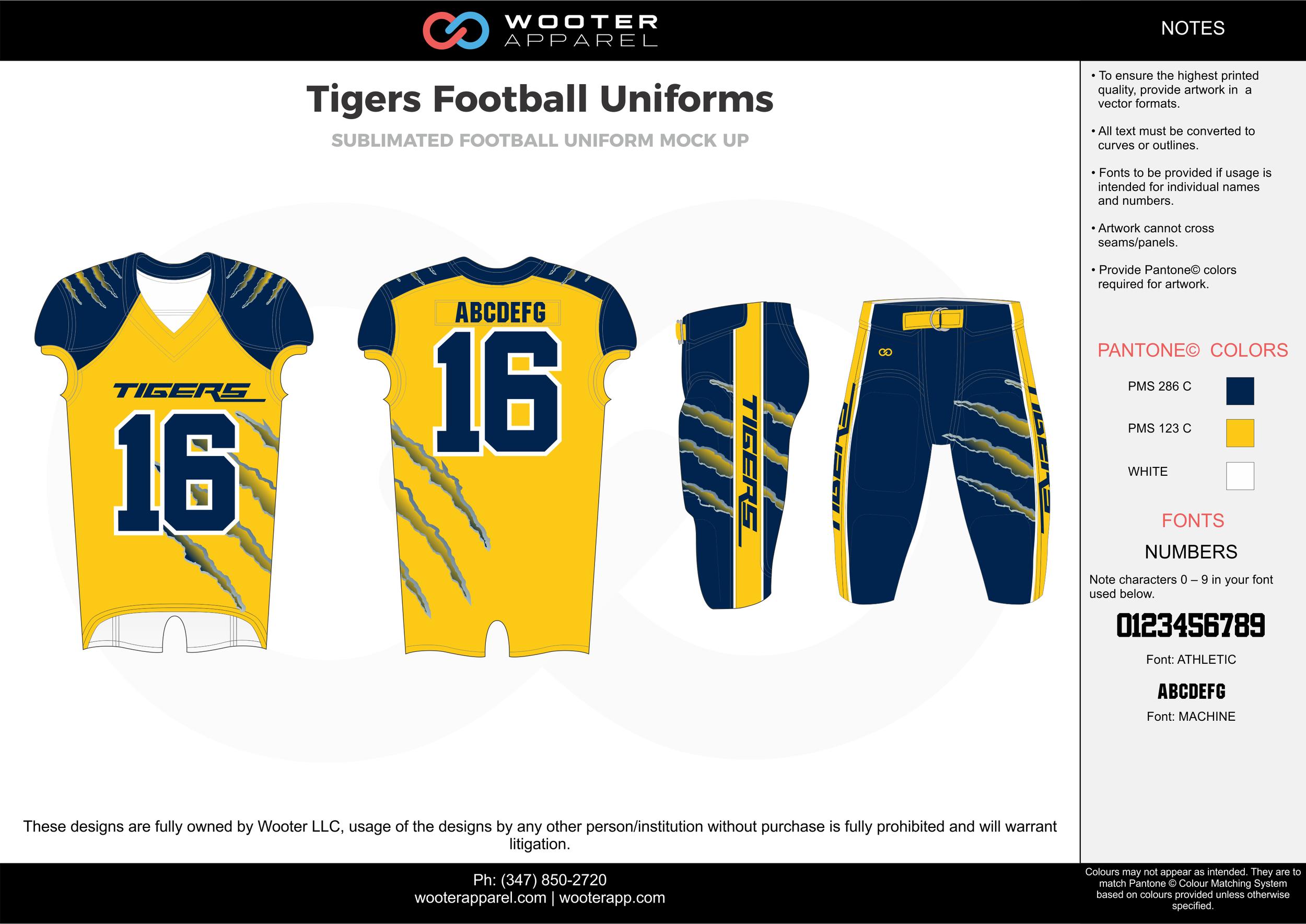 Tigers yellow blue white football uniforms jerseys pants