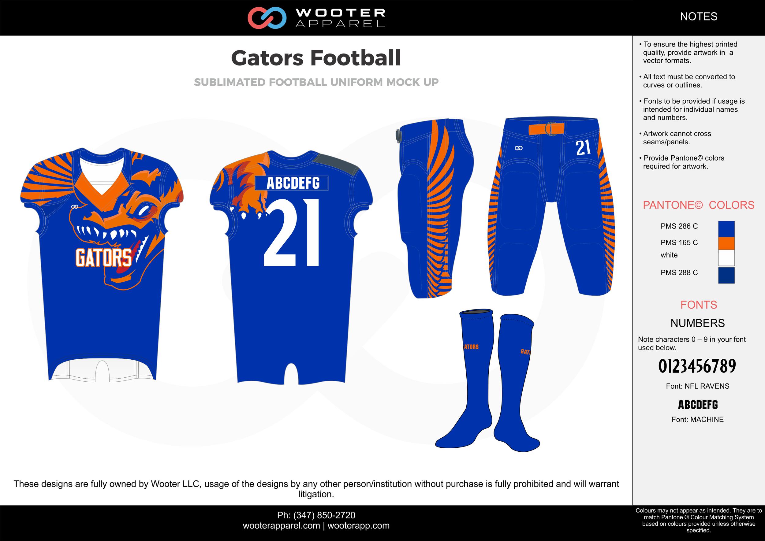 Gators Football blue orange white football uniforms jerseys pants socks