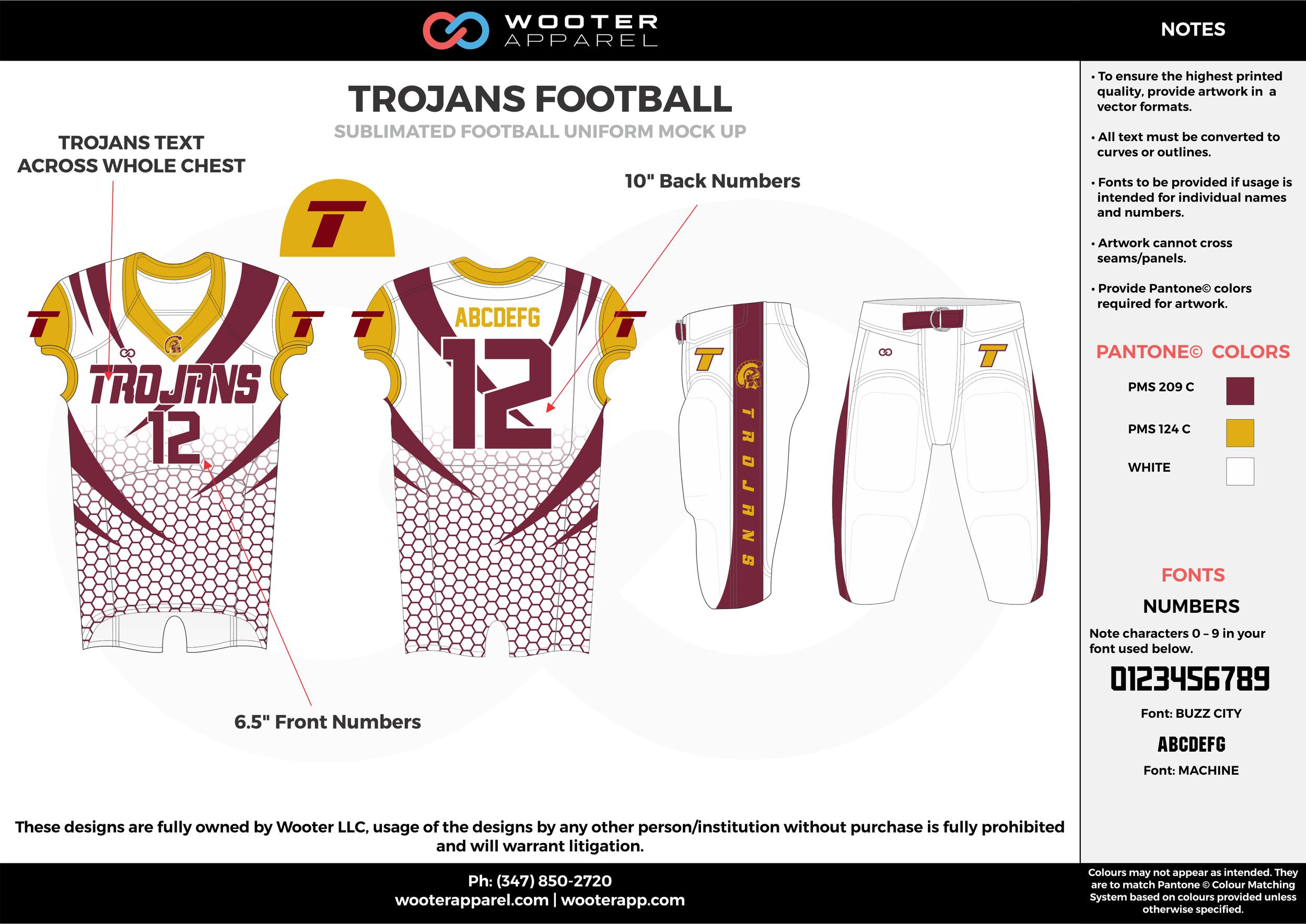 TROJANS FOOTBALL white yellow maroon football uniforms jerseys pants