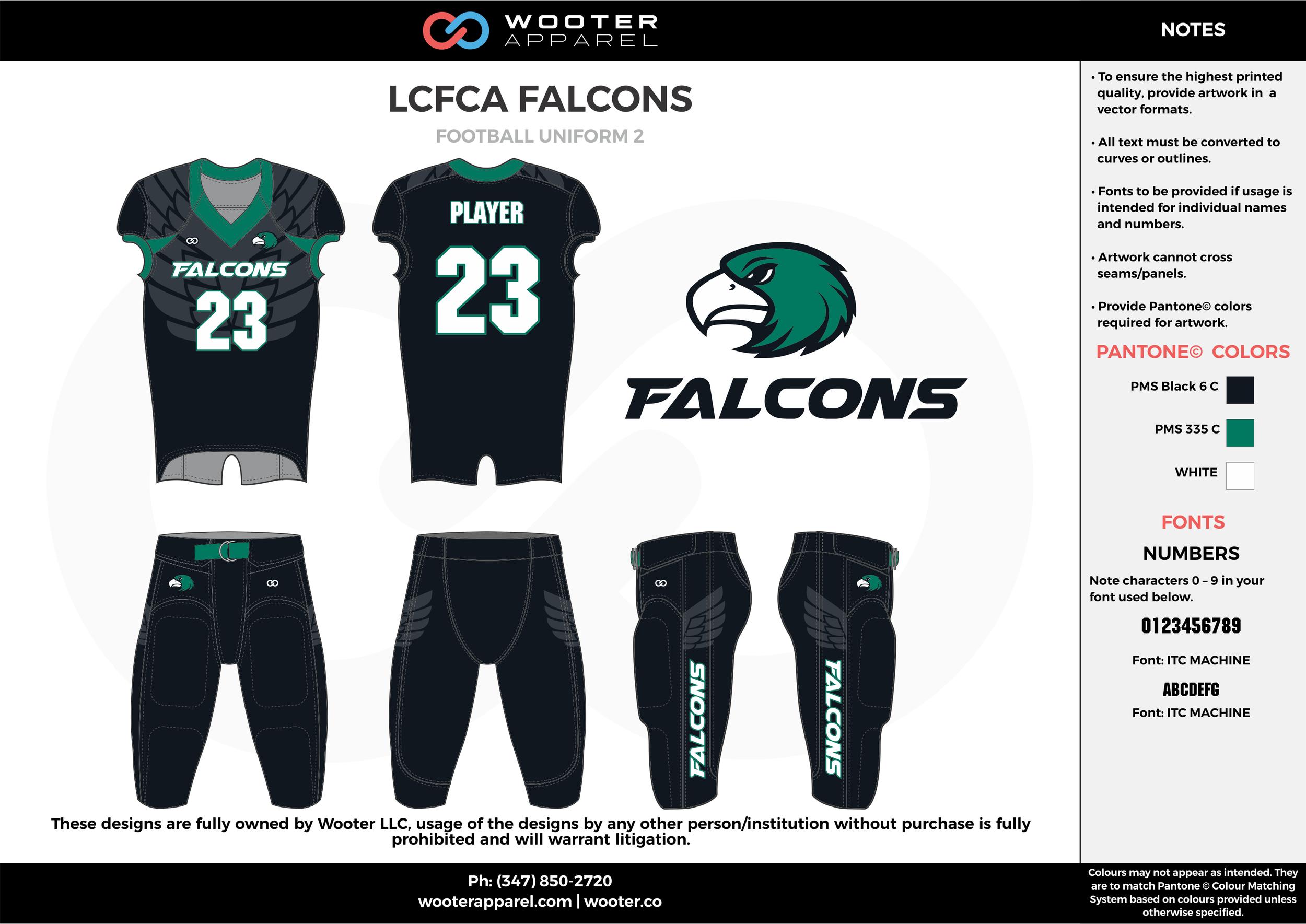 LCFCA FALCONS black green white football uniforms jerseys pants