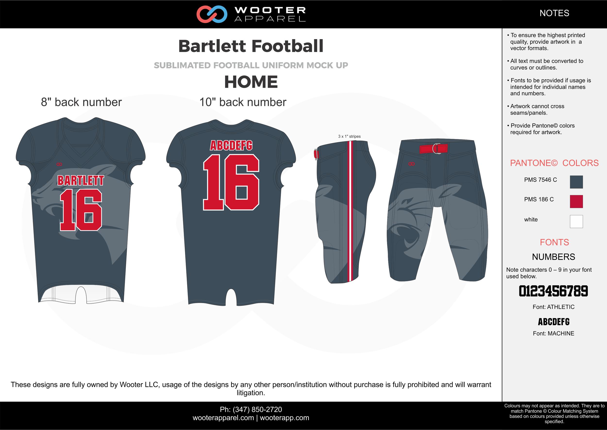 Bartlett Football gray red football uniforms jerseys pants