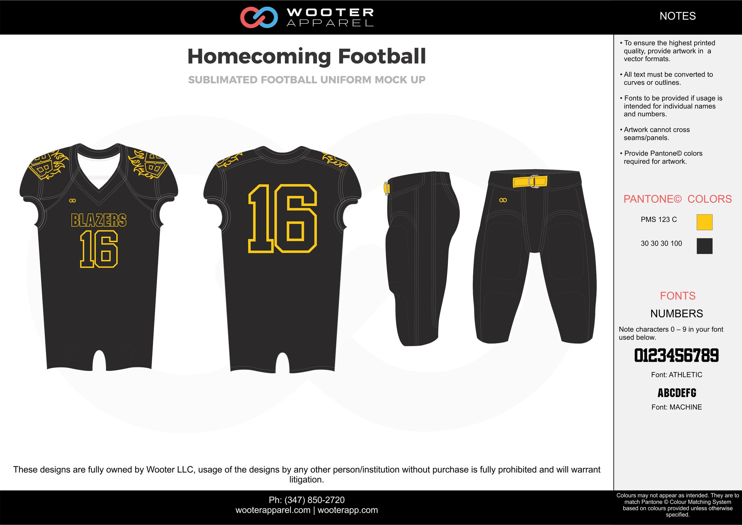 Homecoming Football black yellow football uniforms jerseys pants