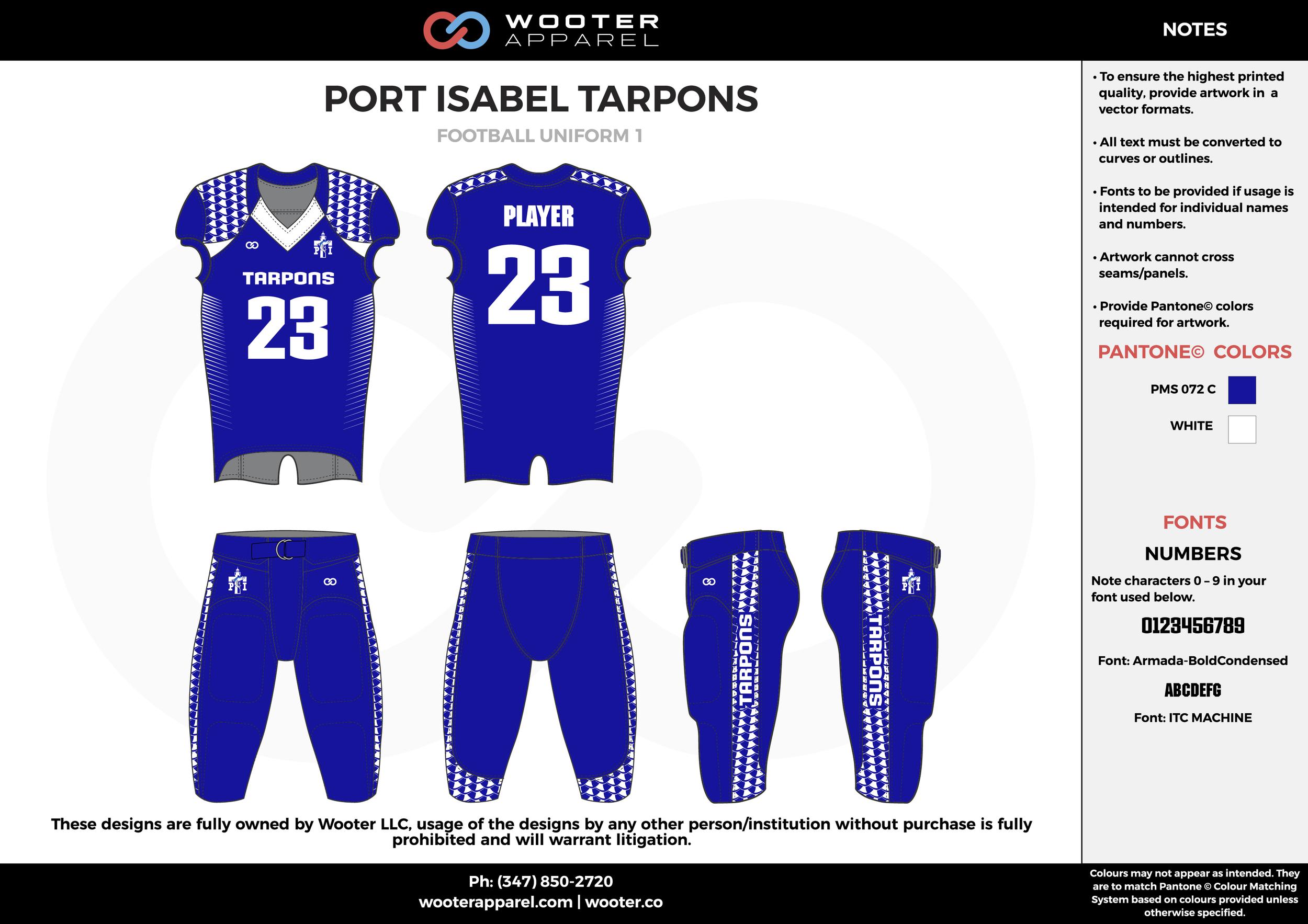 PORT ISABEL TARPONS blue white football uniforms jerseys pants