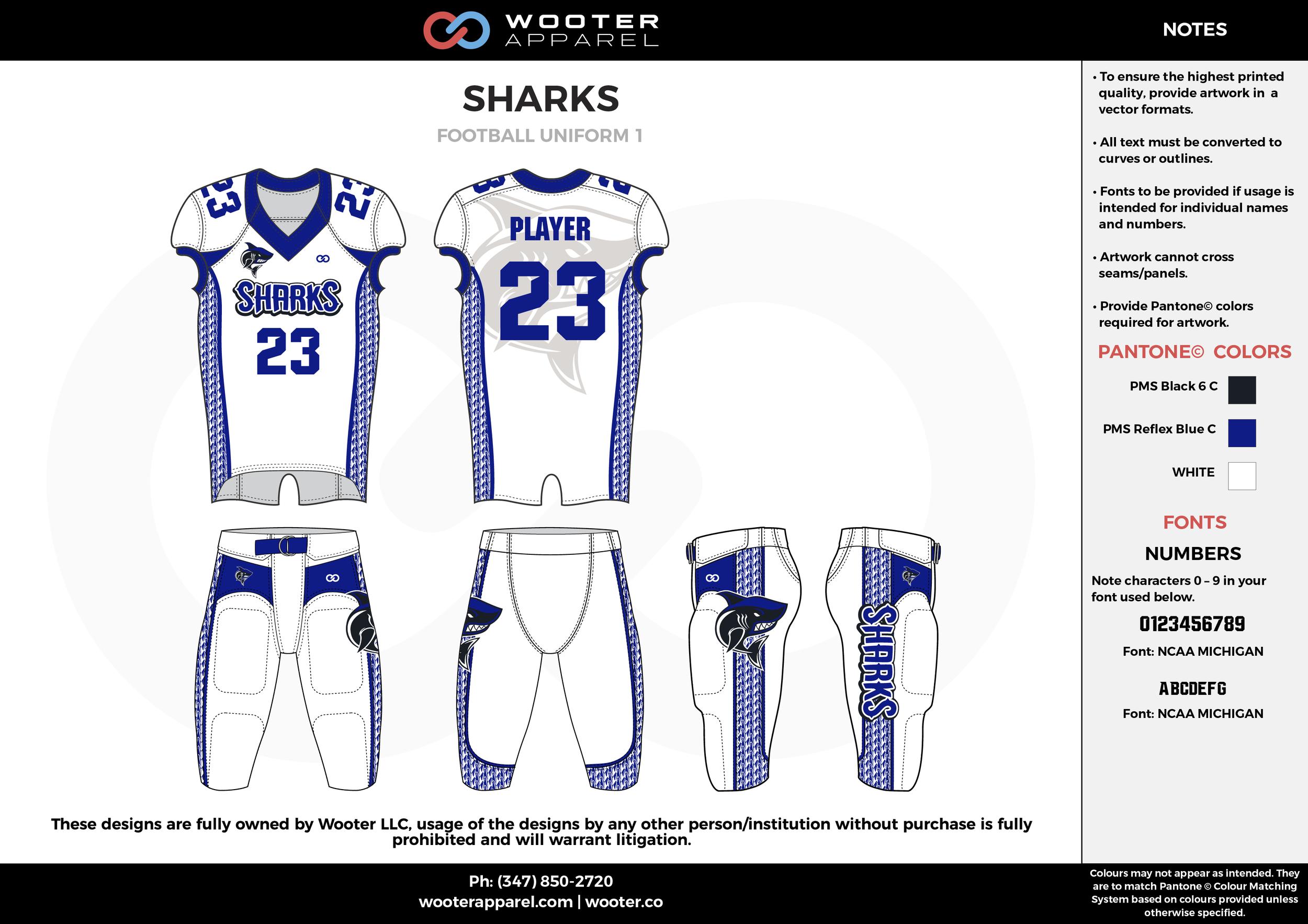 SHARKS white blue black football uniforms jerseys pants