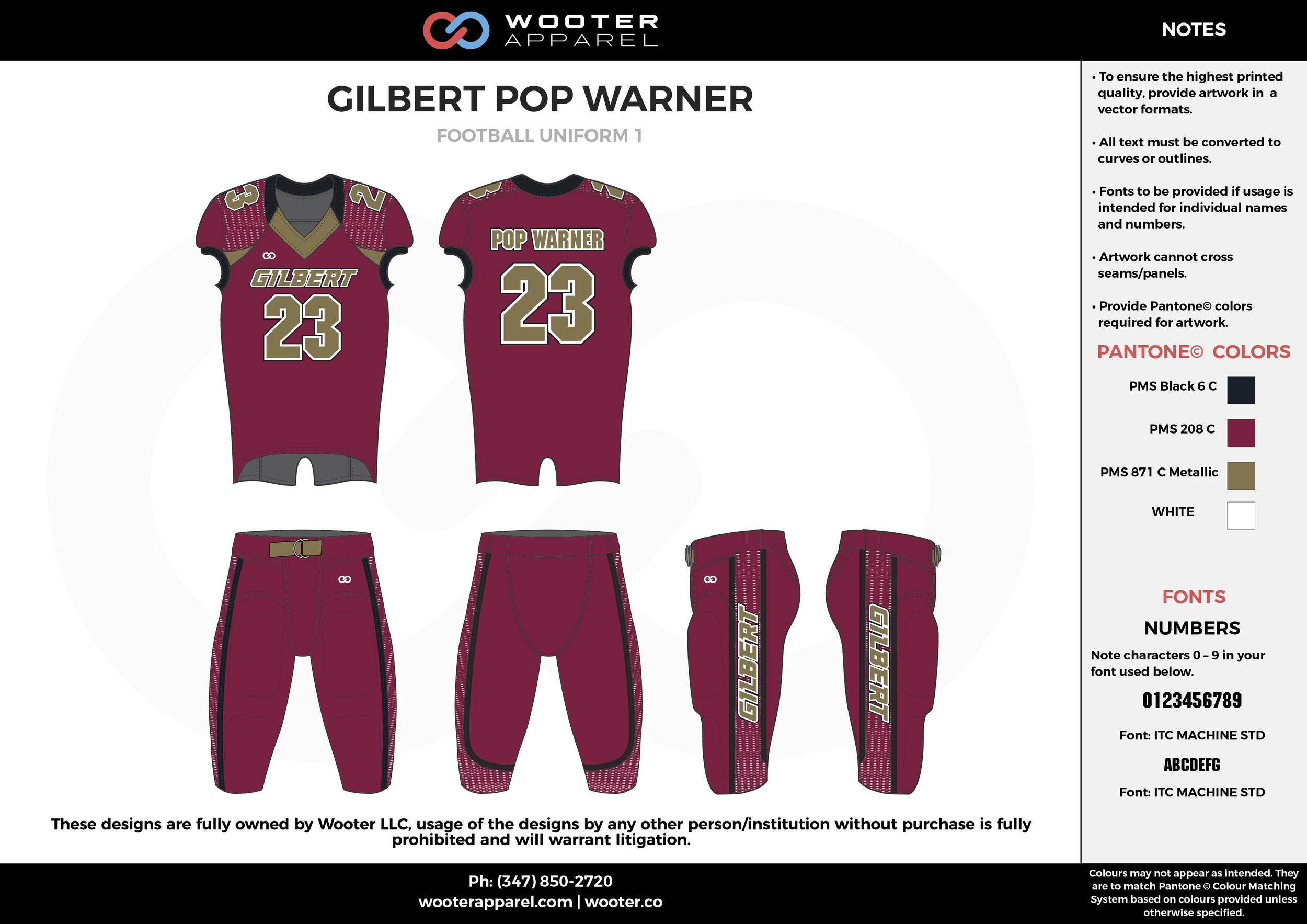 GILBERT POP WARNER maroon black beige football uniforms jerseys pants