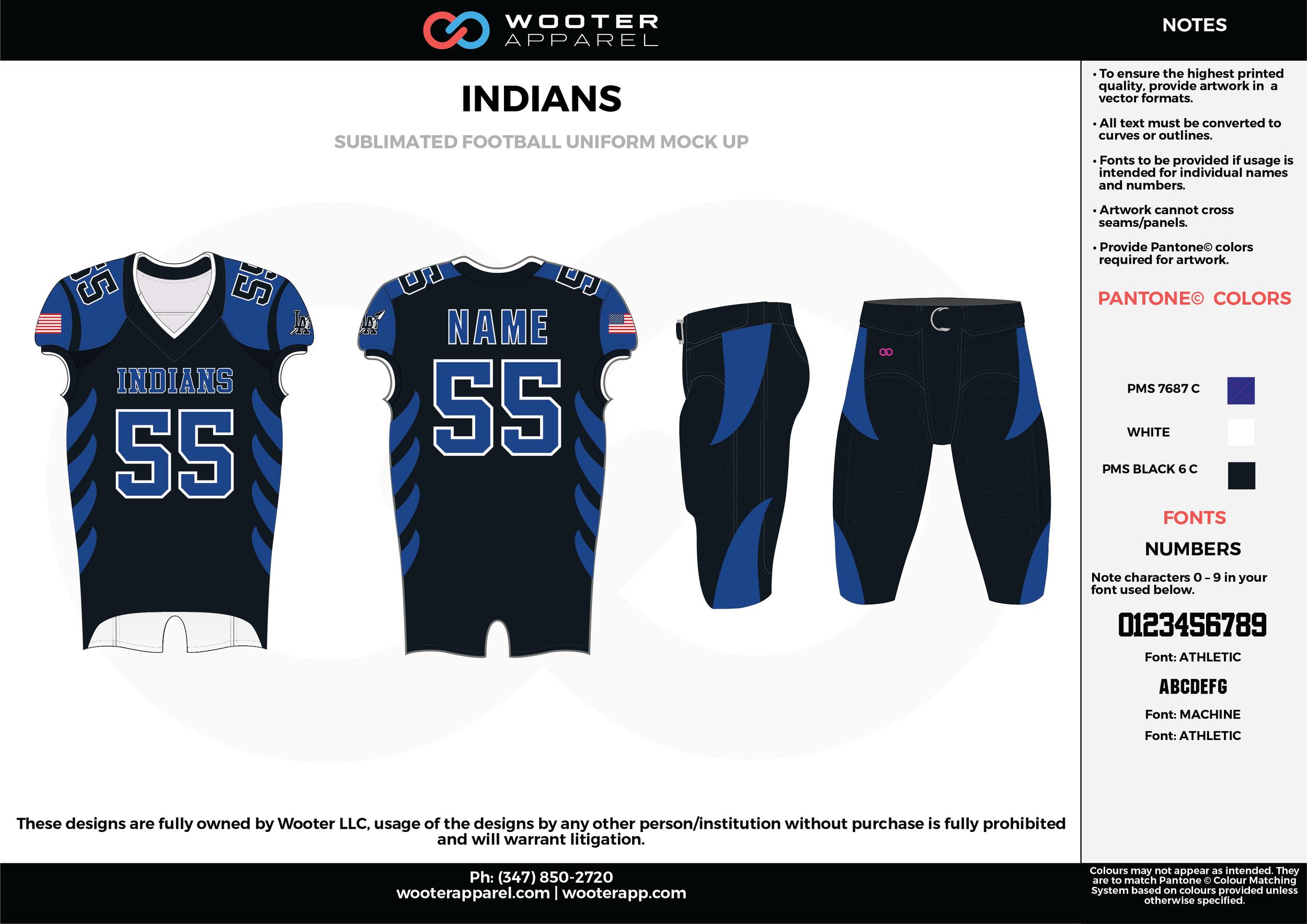 INDIANS blue black white football uniforms jerseys pants