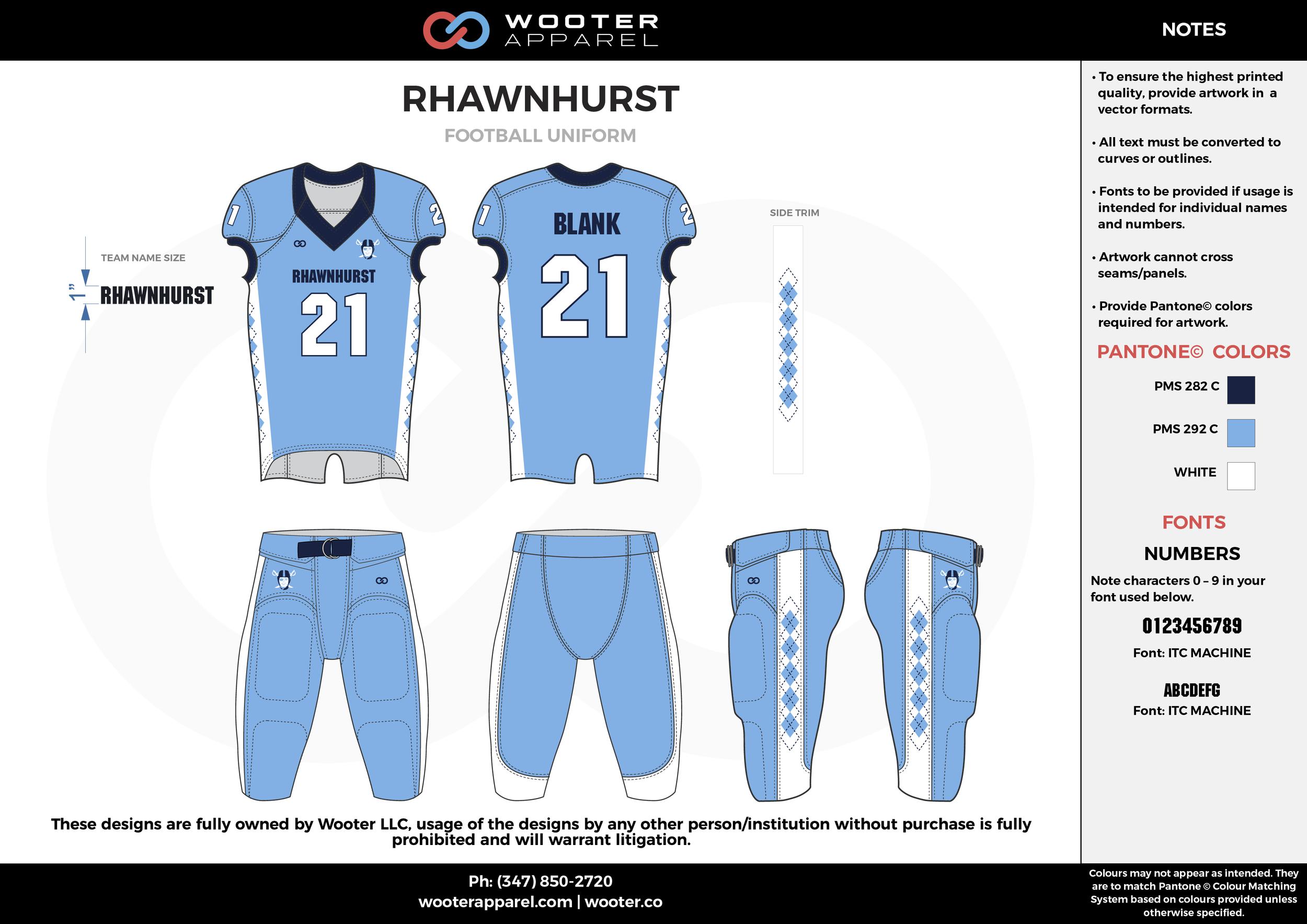 RHAWNHURST blue black white football uniforms jerseys pants