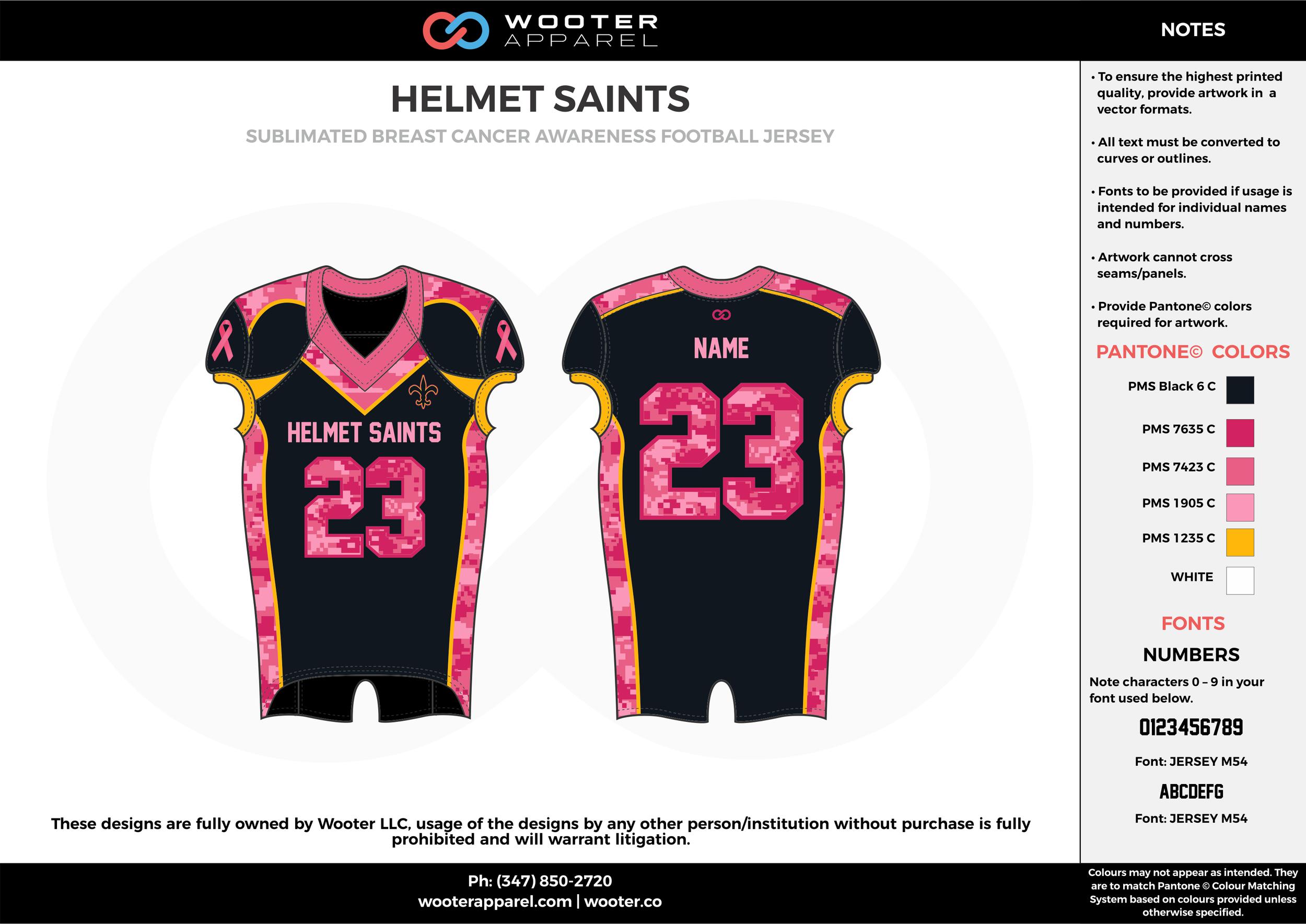 HELMET SAINTS pink black yellow football uniforms jerseys top