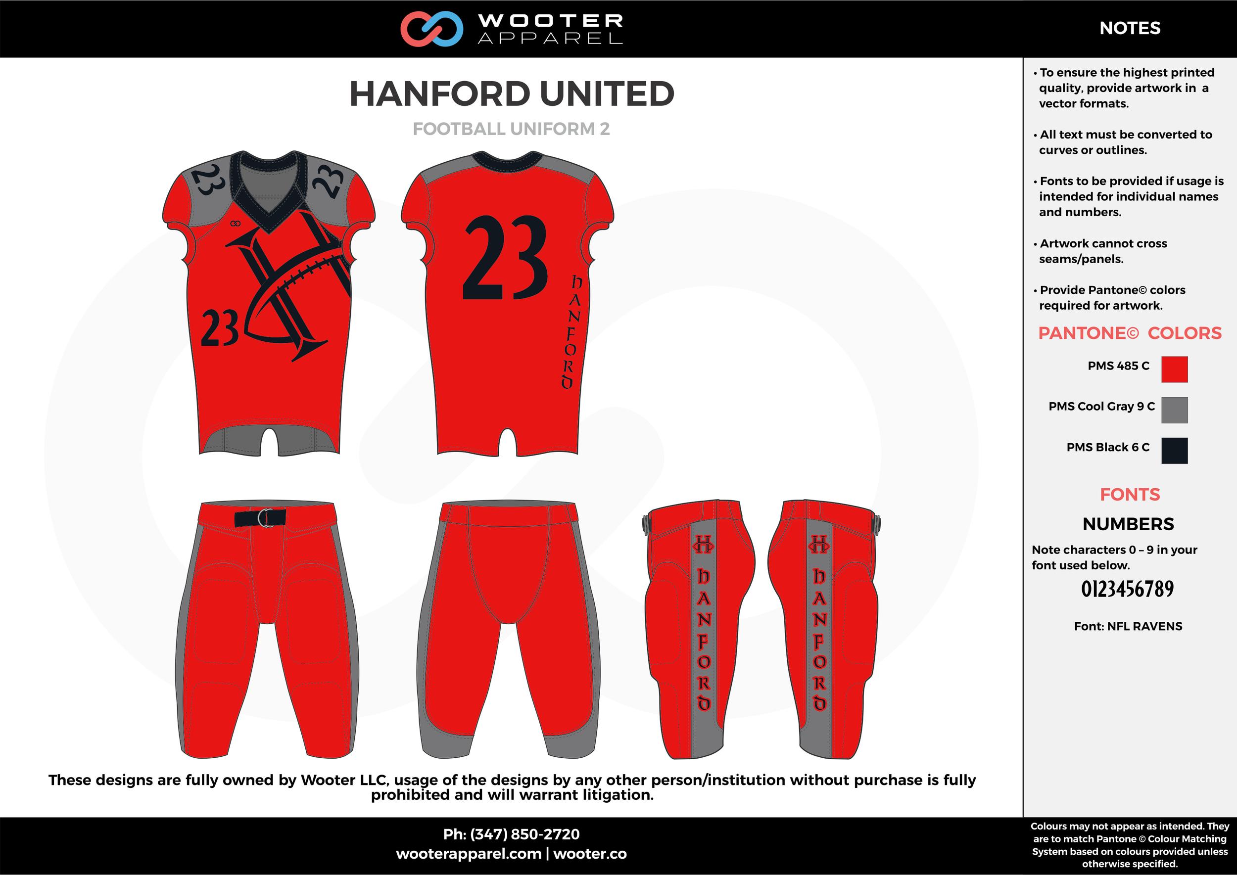 HANFORD UNITED red gray black football uniforms jerseys pants