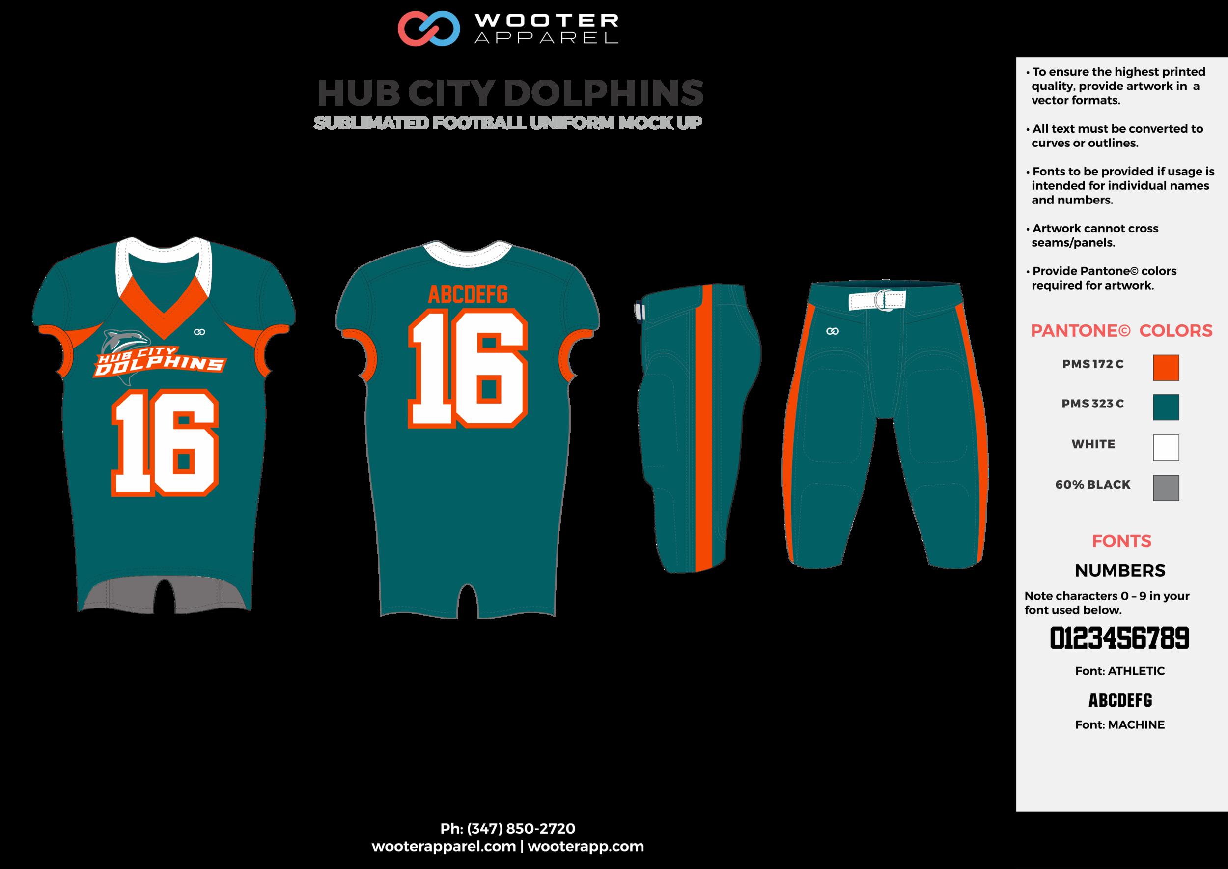 HUB CITY DOLPHINS water blue orange white gray football uniforms jerseys pants
