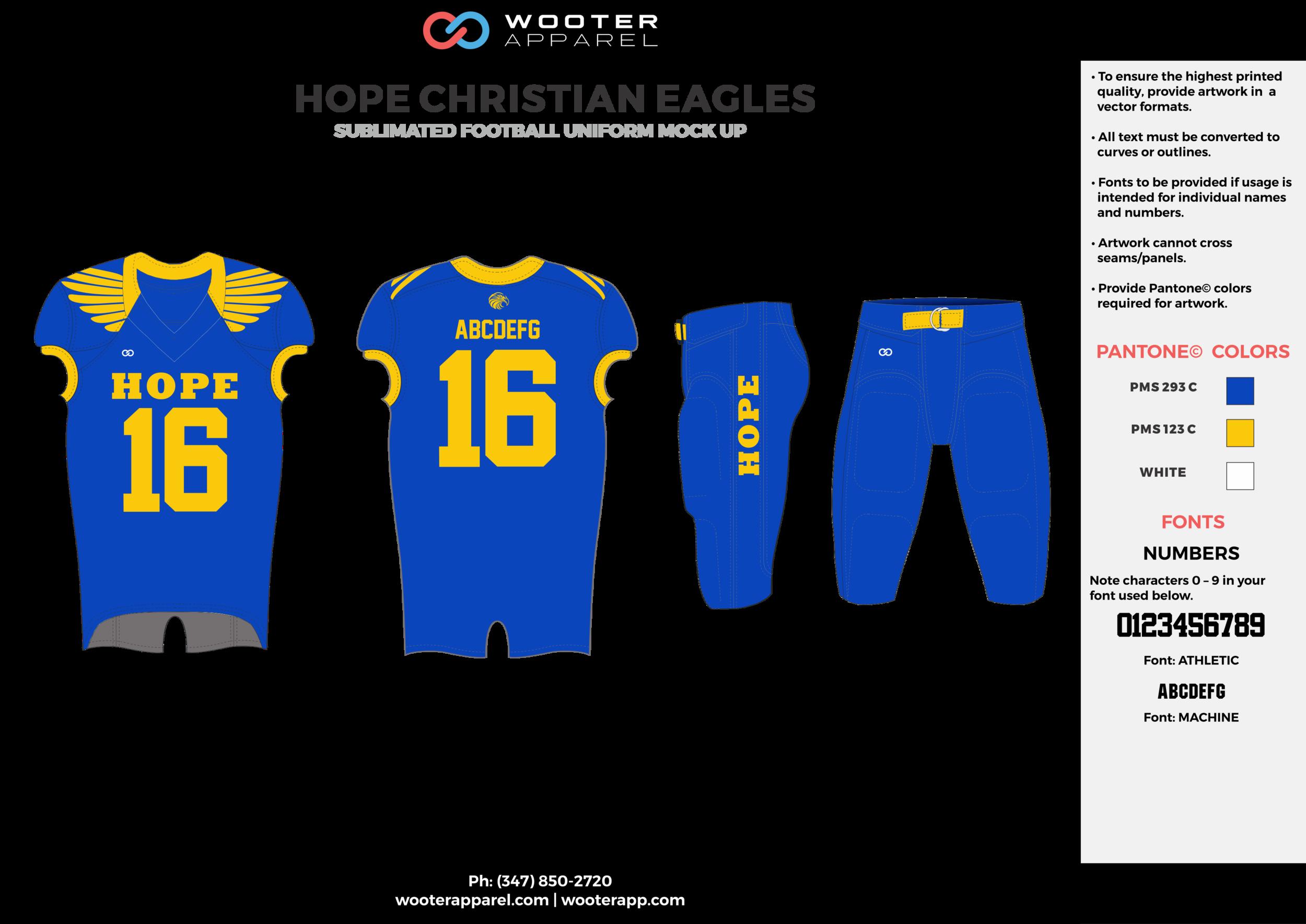 HOPE CHRISTIAN EAGLES blue yellow football uniforms jerseys pants