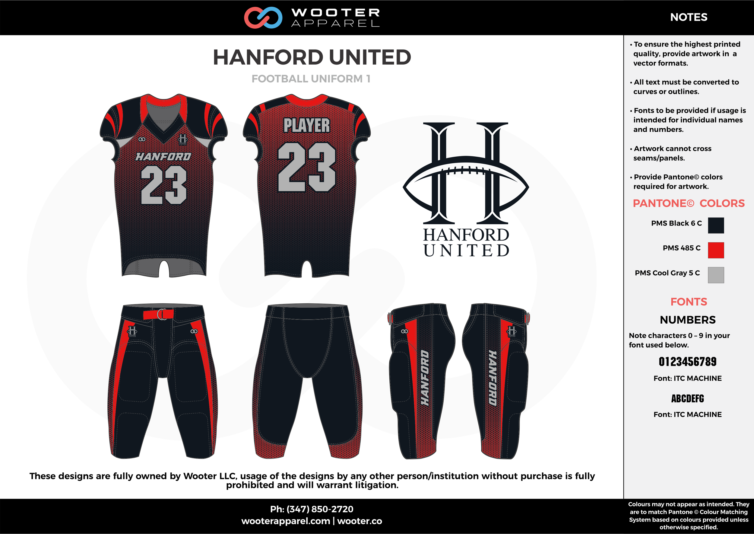 HANFORD UNITED black red gray football uniforms jerseys pants