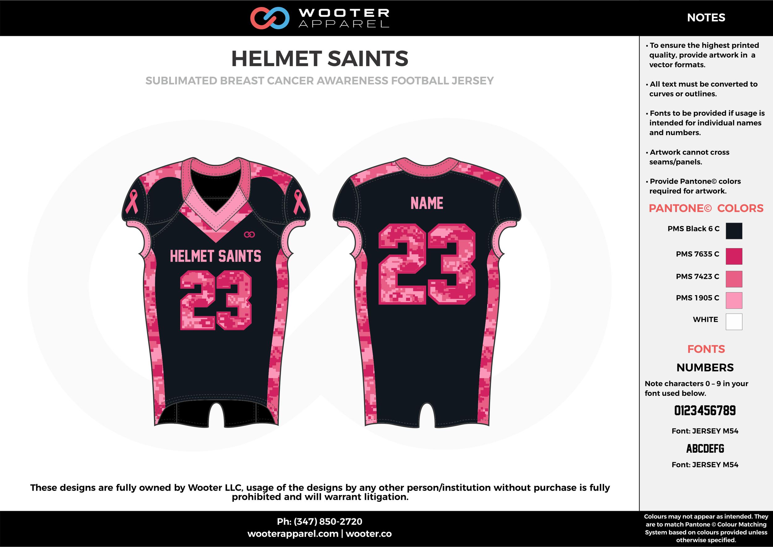 HELMET SAINTS black pink white football uniforms jerseys top