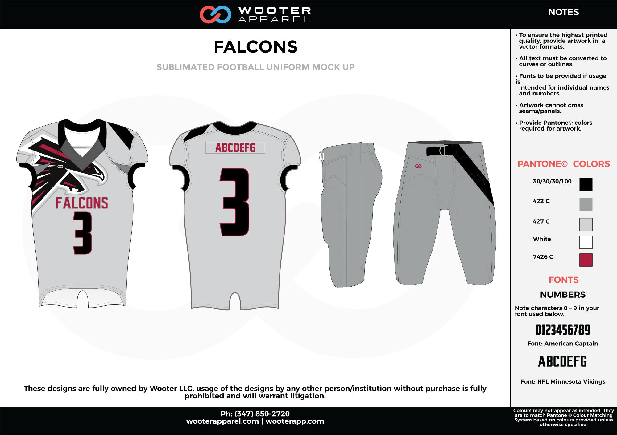 FALCONS gray black white maroon football uniforms jerseys pants