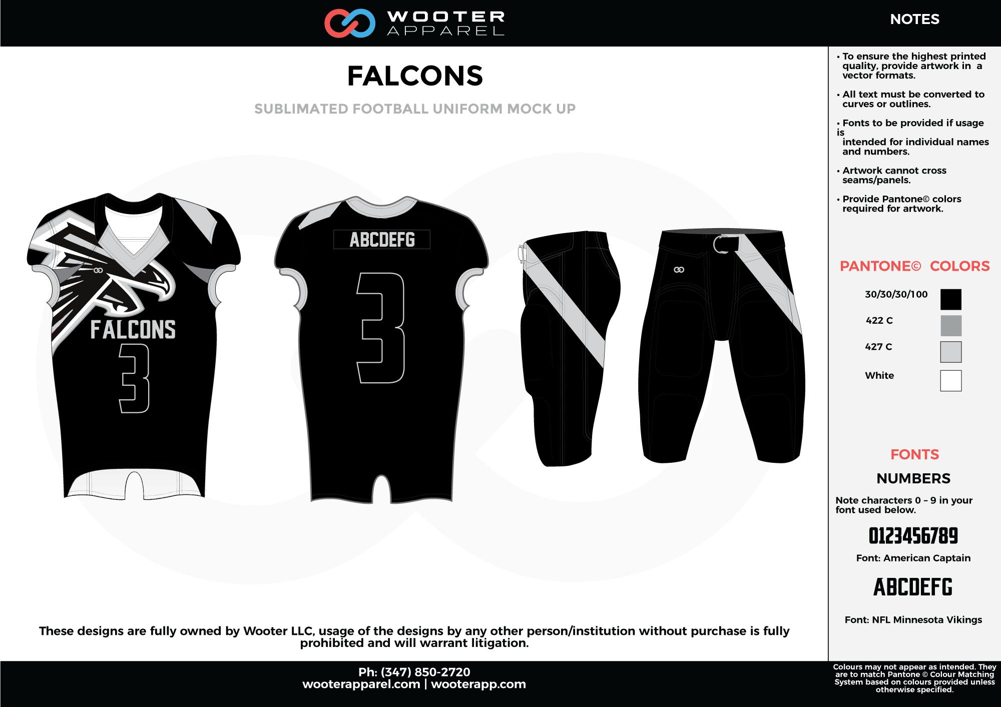 FALCONS black white gray football uniforms jerseys pants
