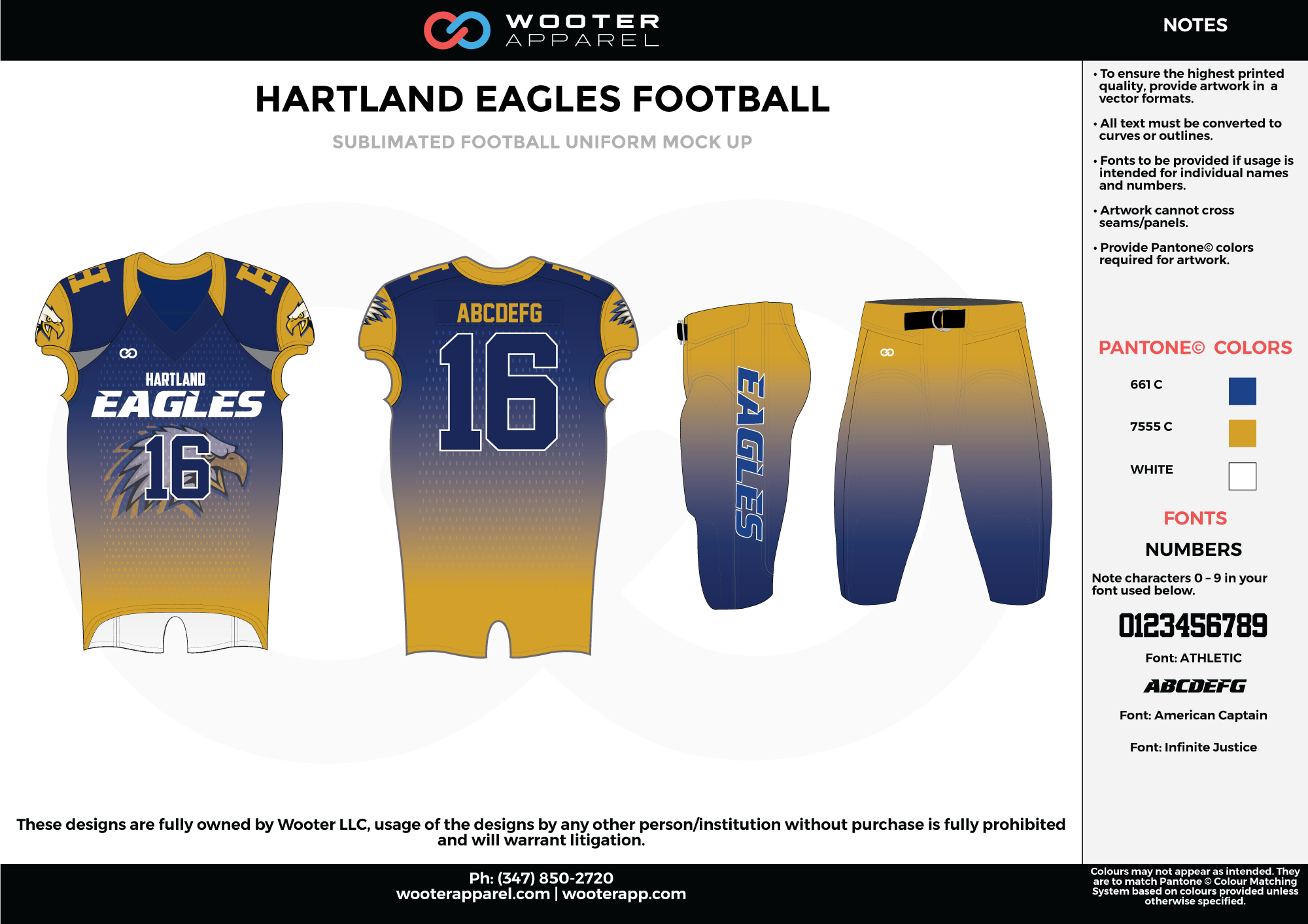 HARTLAND EAGLES FOOTBALL yellow blue white football uniforms jerseys pants