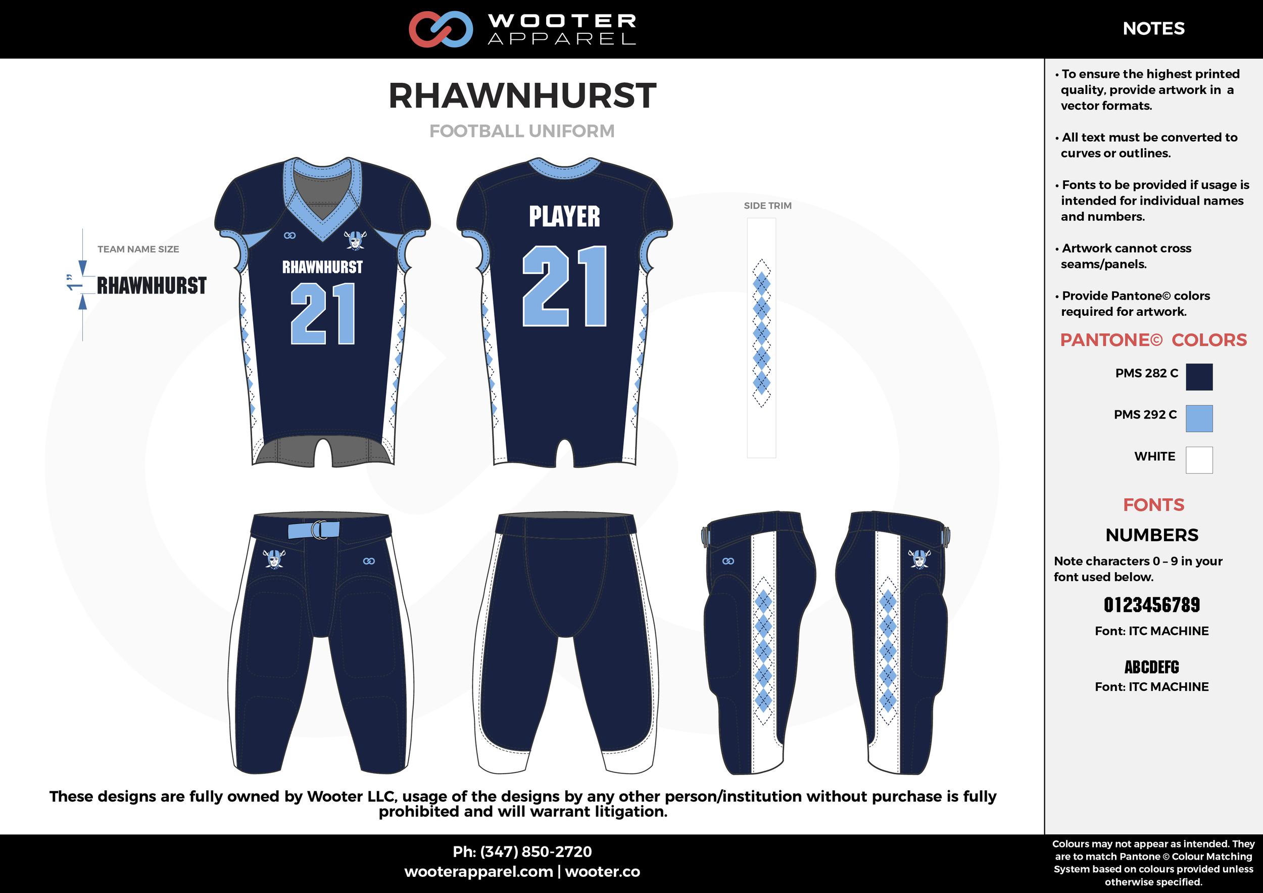 RHAWNHURST navy blue white sky blue football uniforms jerseys pants