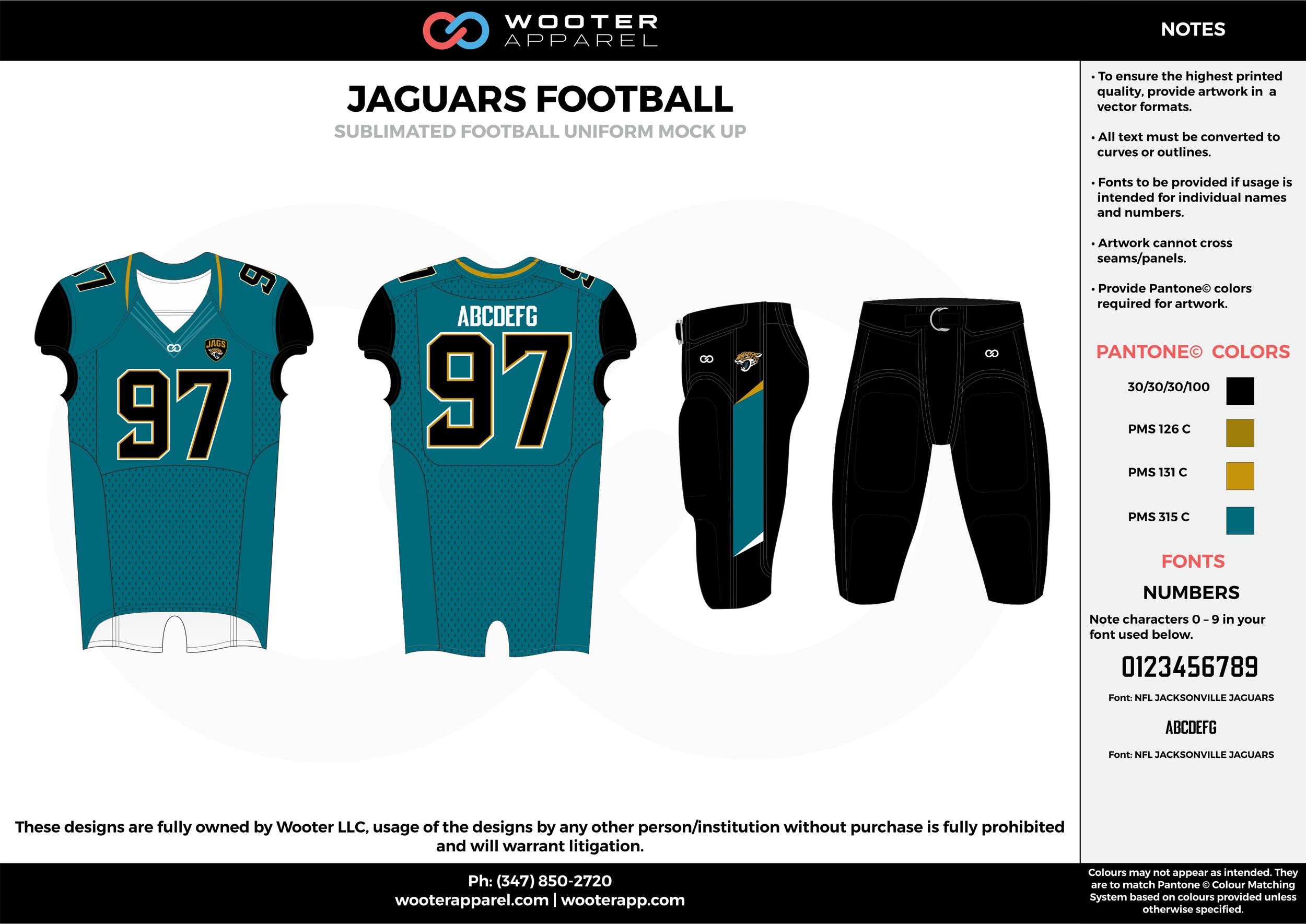 JAGUARS FOOTBALL water blue black yellow football uniforms jerseys pants