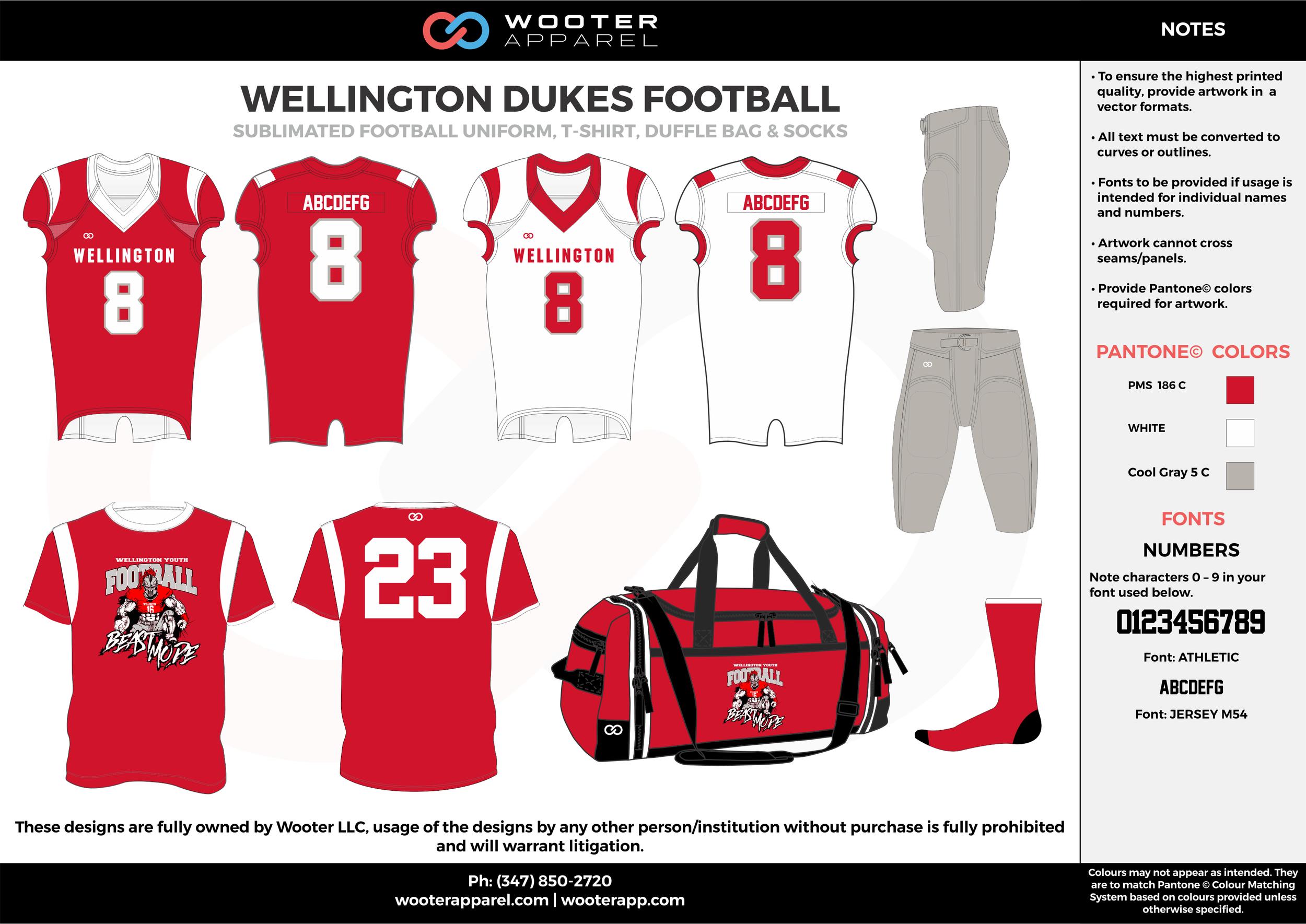 WELLINGTON DUKES FOOTBALL red white gray football uniforms jerseys pants bags socks