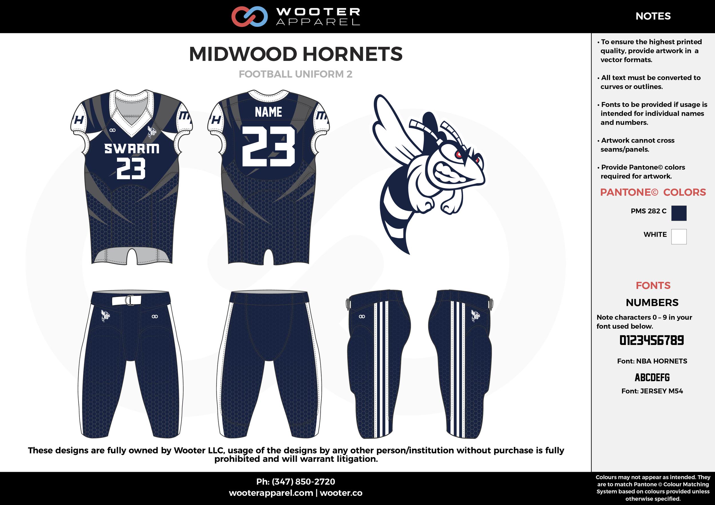 MIDWOOD HORNETS navy blue white football uniforms jerseys pants