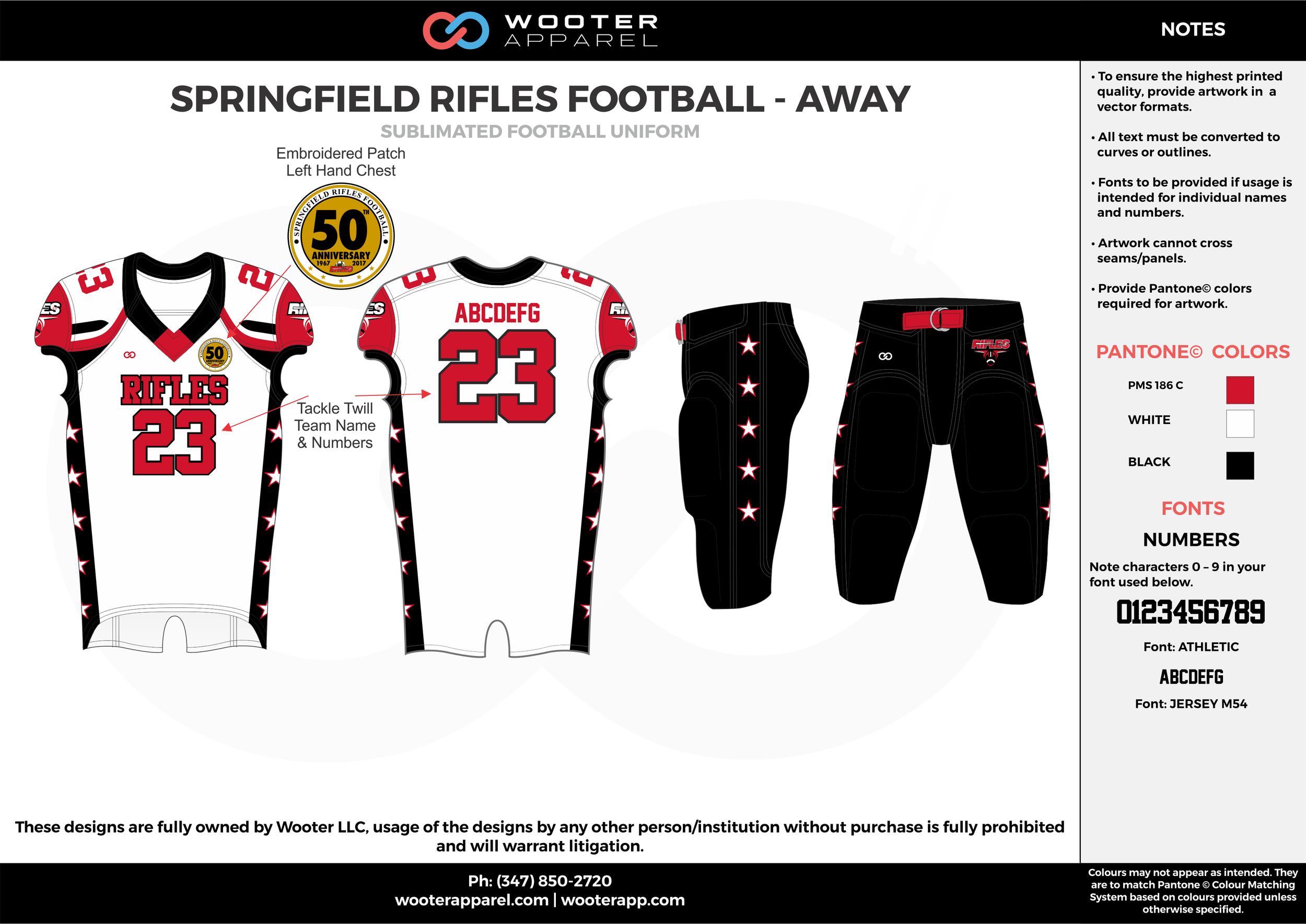 SPRINGFIELD RIFLES FOOTBALL - AWAY white red black football uniforms jerseys pants