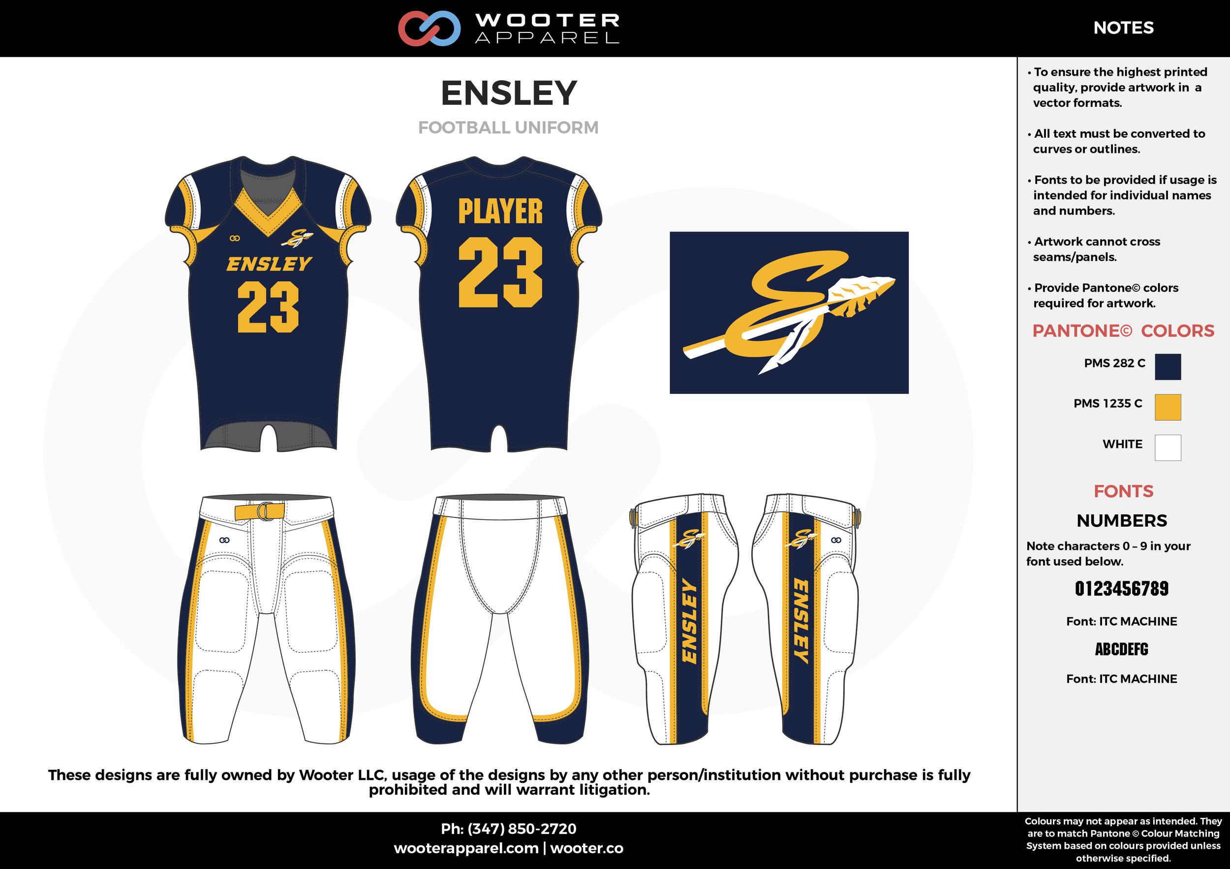 ENSLEY navy blue white yellow football uniforms jerseys pants