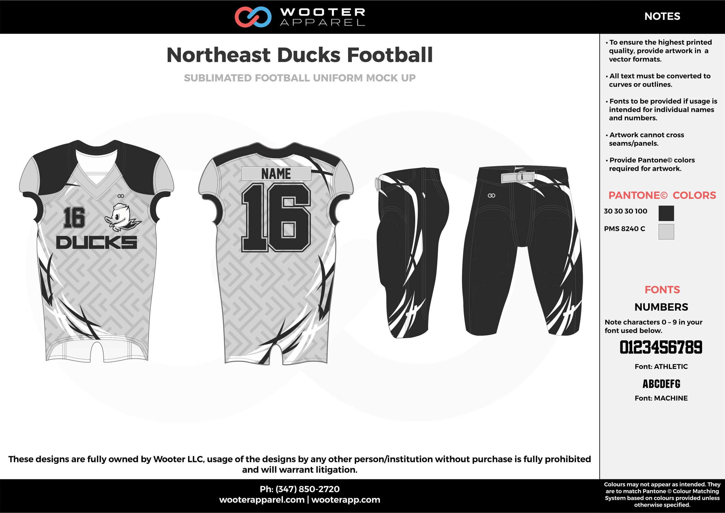 Northeast Ducks Football white black gray football uniforms jerseys pants