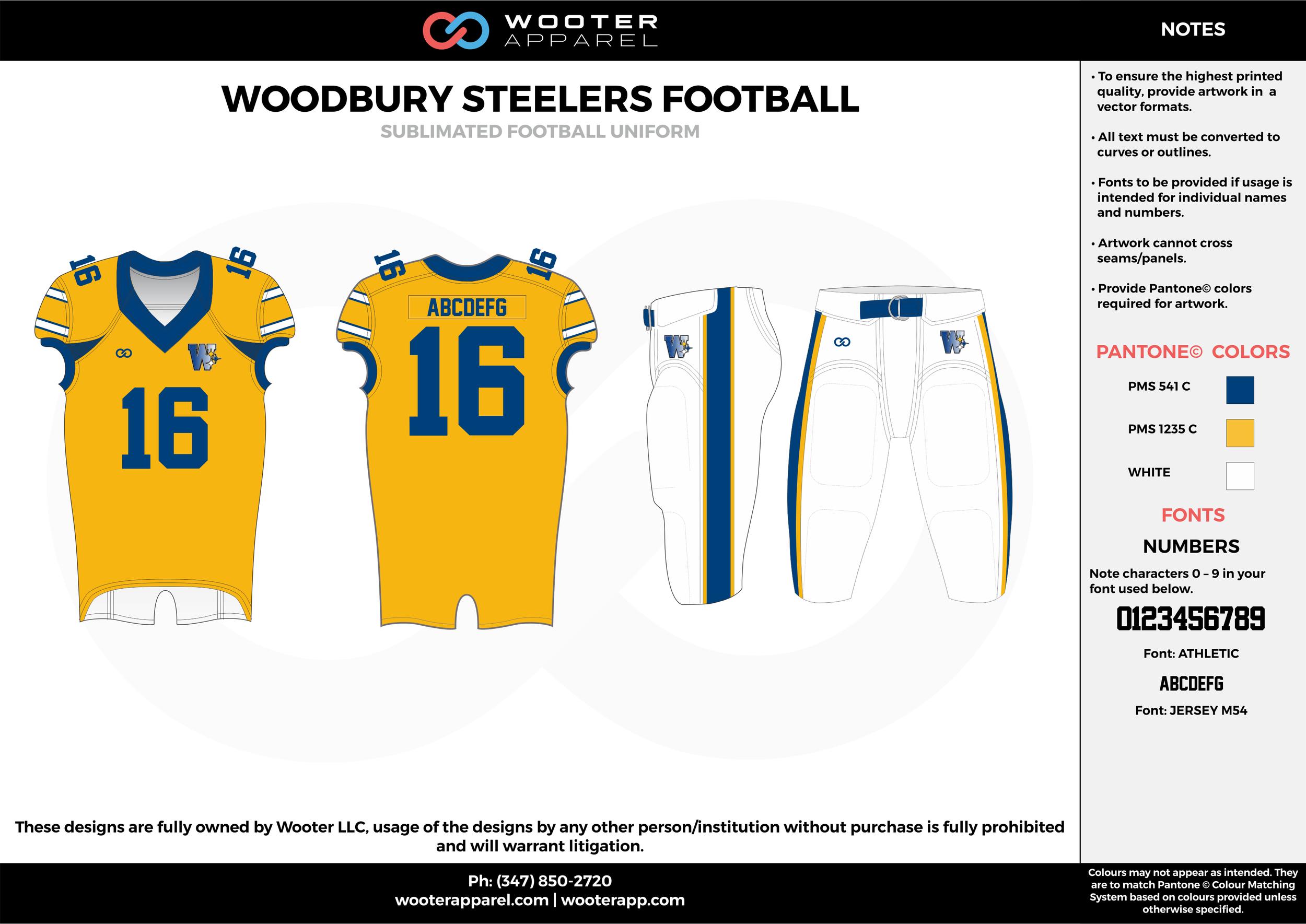 WOODBURY STEELERS FOOTBALL yellow blue white football uniforms jerseys pants
