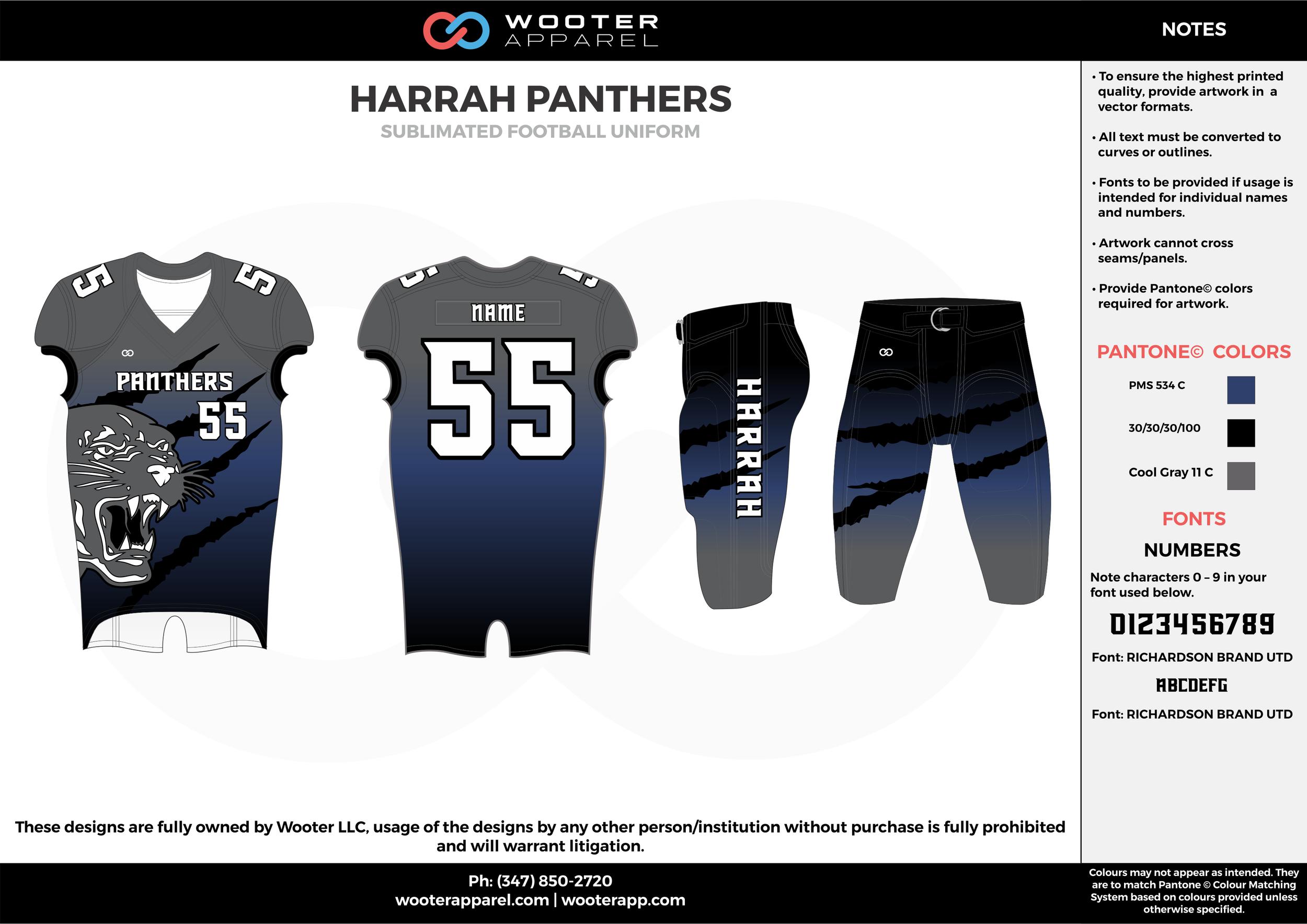 HARRAH PANTHERS black blue gray football uniforms jerseys pants