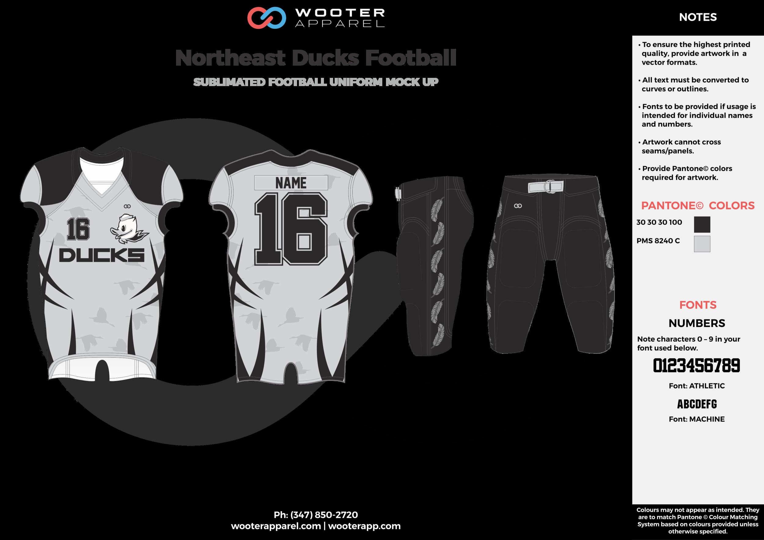 Northeast Ducks Football gray black football uniforms jerseys pants