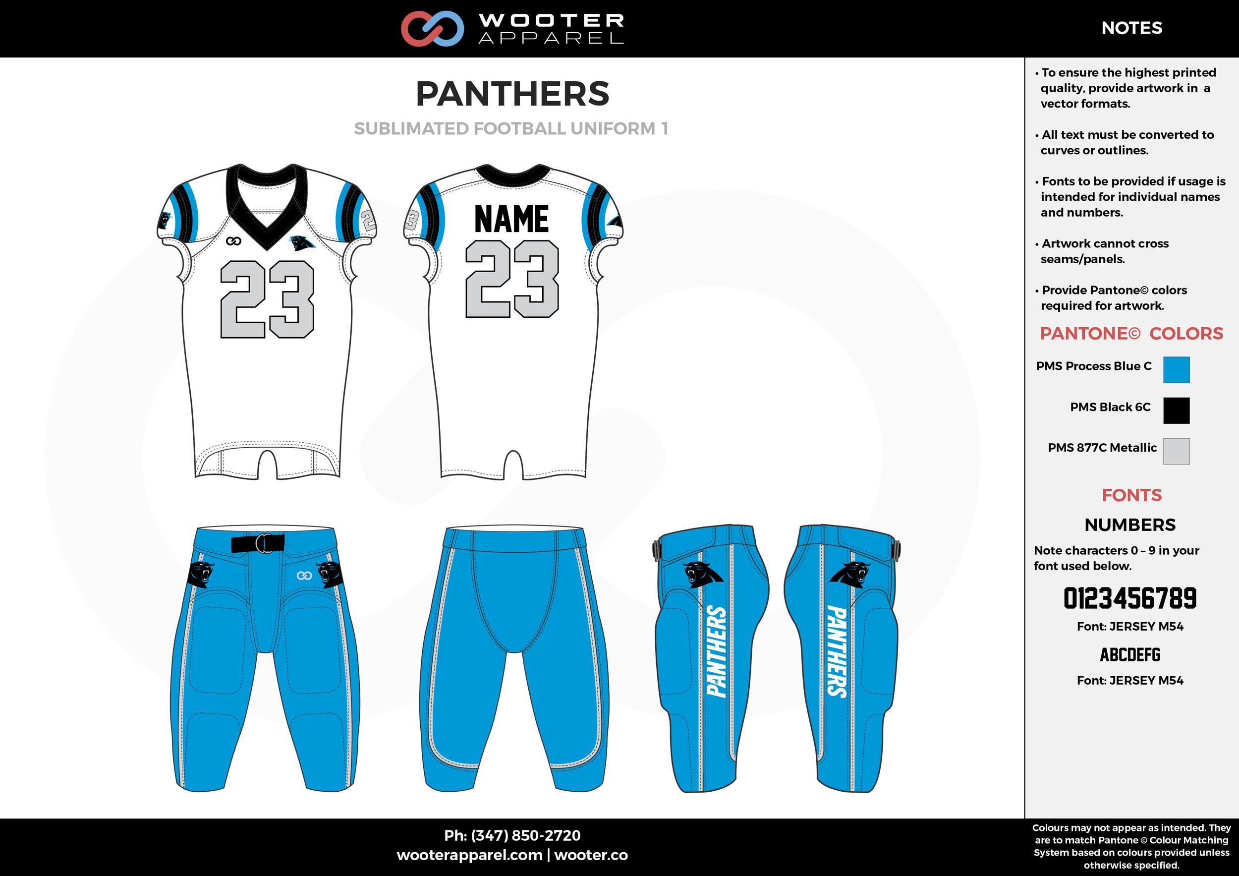 PANTHERS blue white black football uniforms jerseys pants