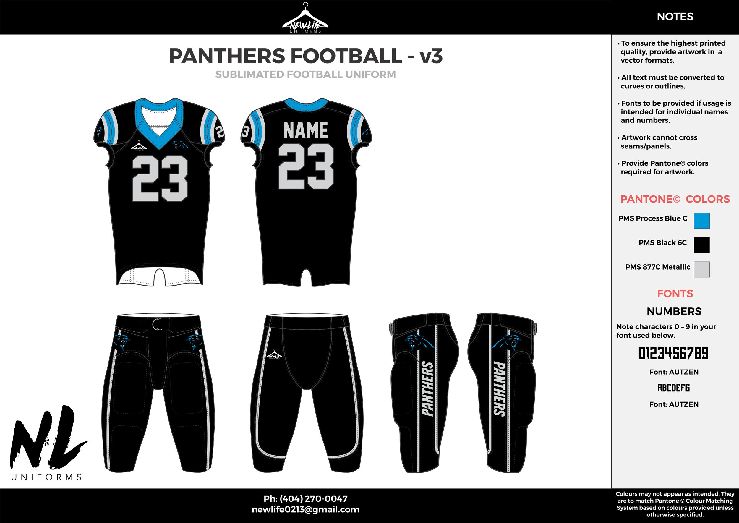 PANTHERS FOOTBALL - v3  black blue gray football uniforms jerseys pants