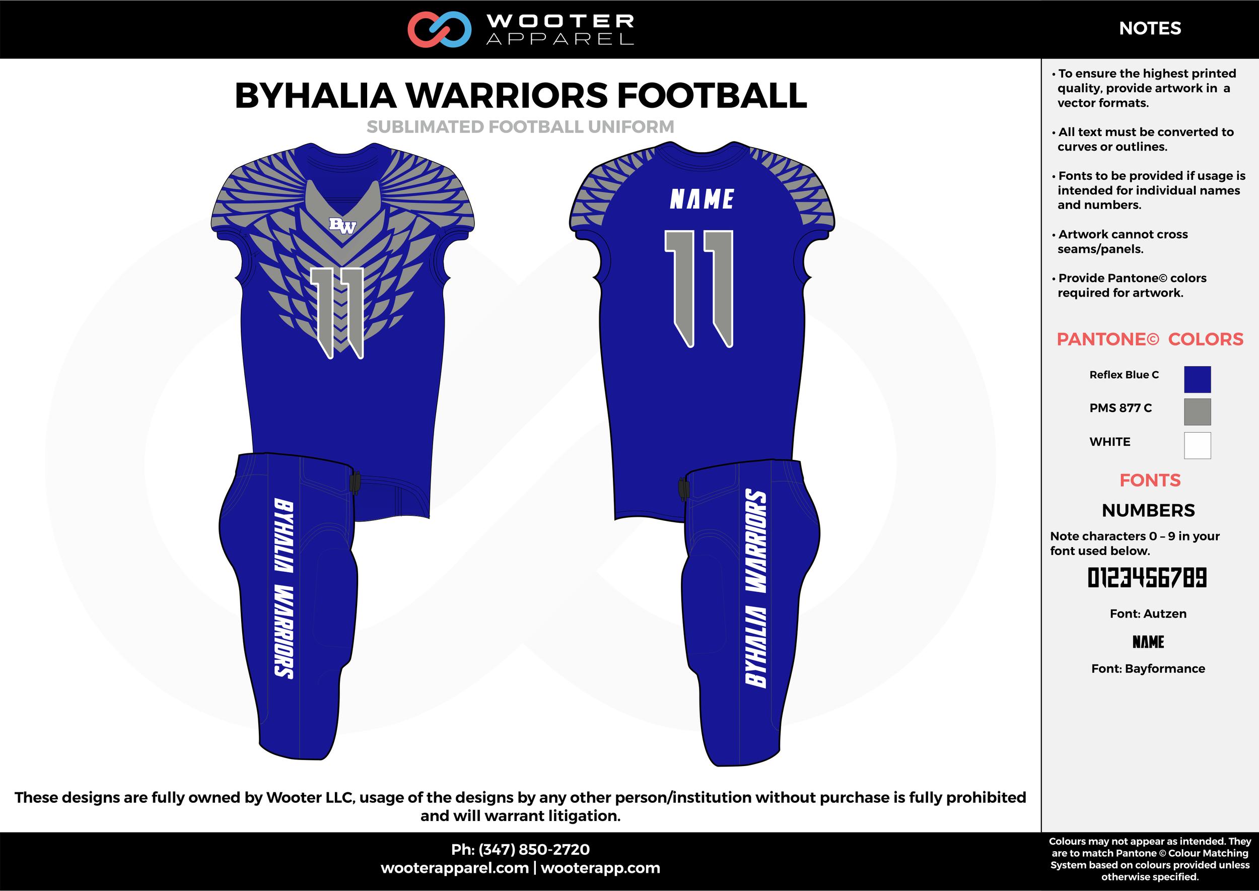 BYHALIA WARRIORS FOOTBALL blue gray white football uniforms jerseys pants