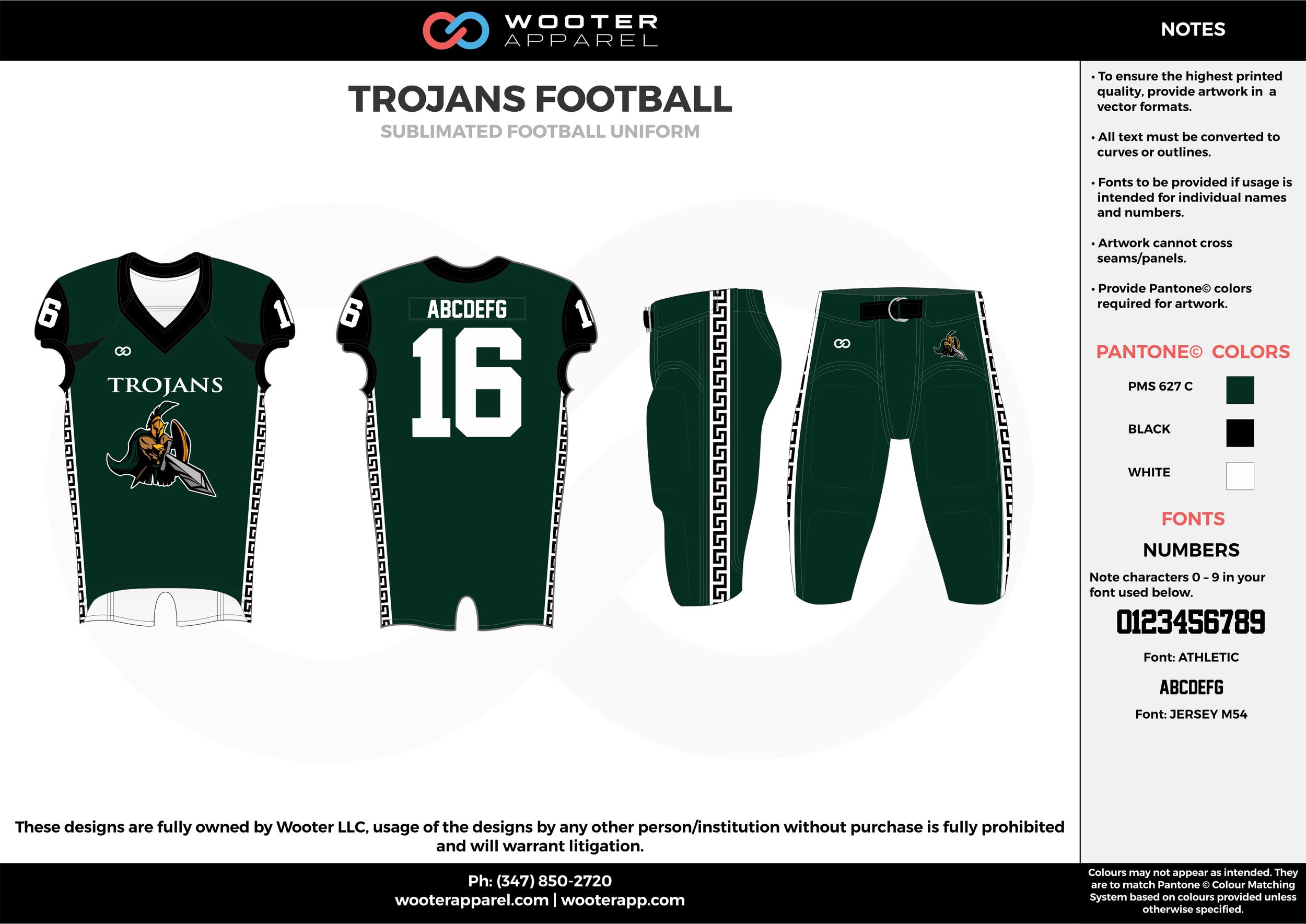 TROJANS FOOTBALL green black white football uniforms jerseys pants