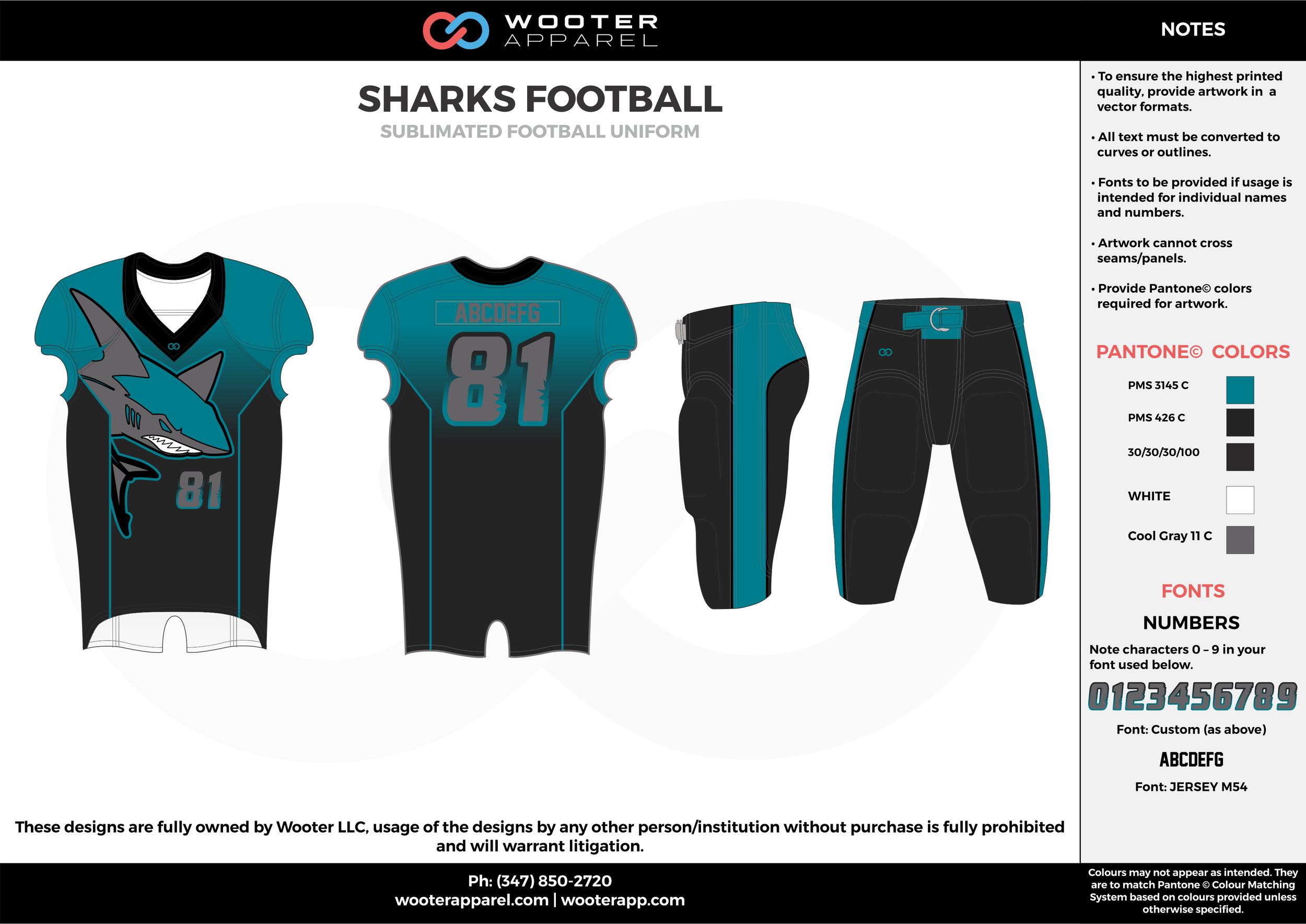 SHARKS FOOTBALL water blue black gray football uniforms jerseys pants