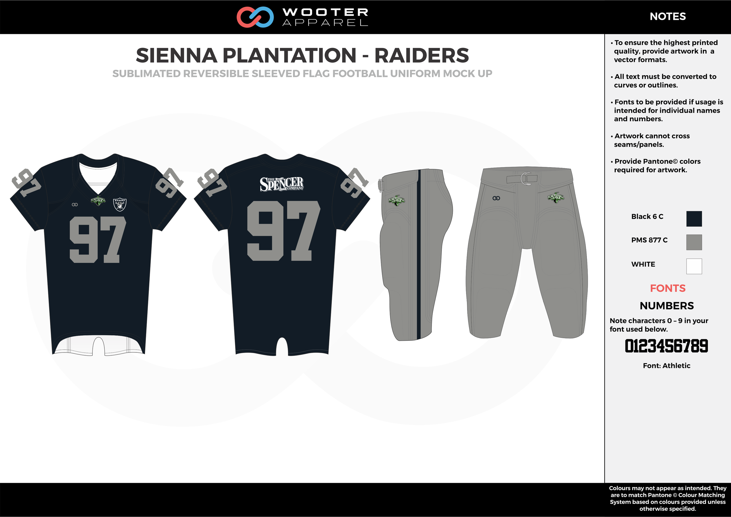 SIENNA PLANTATION - RAIDERS black gray white Football Uniform, Jersey, Pants, Integraded