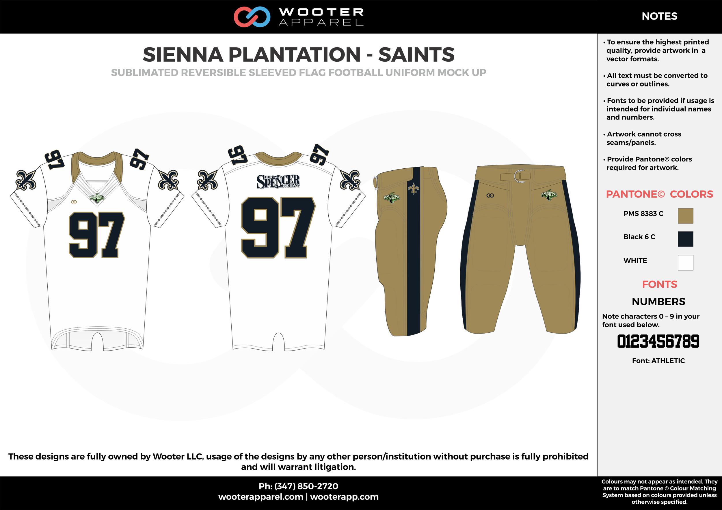 SIENNA PLANTATION - SAINTS khaki black white Football Uniform, Jersey, Pants, Integraded