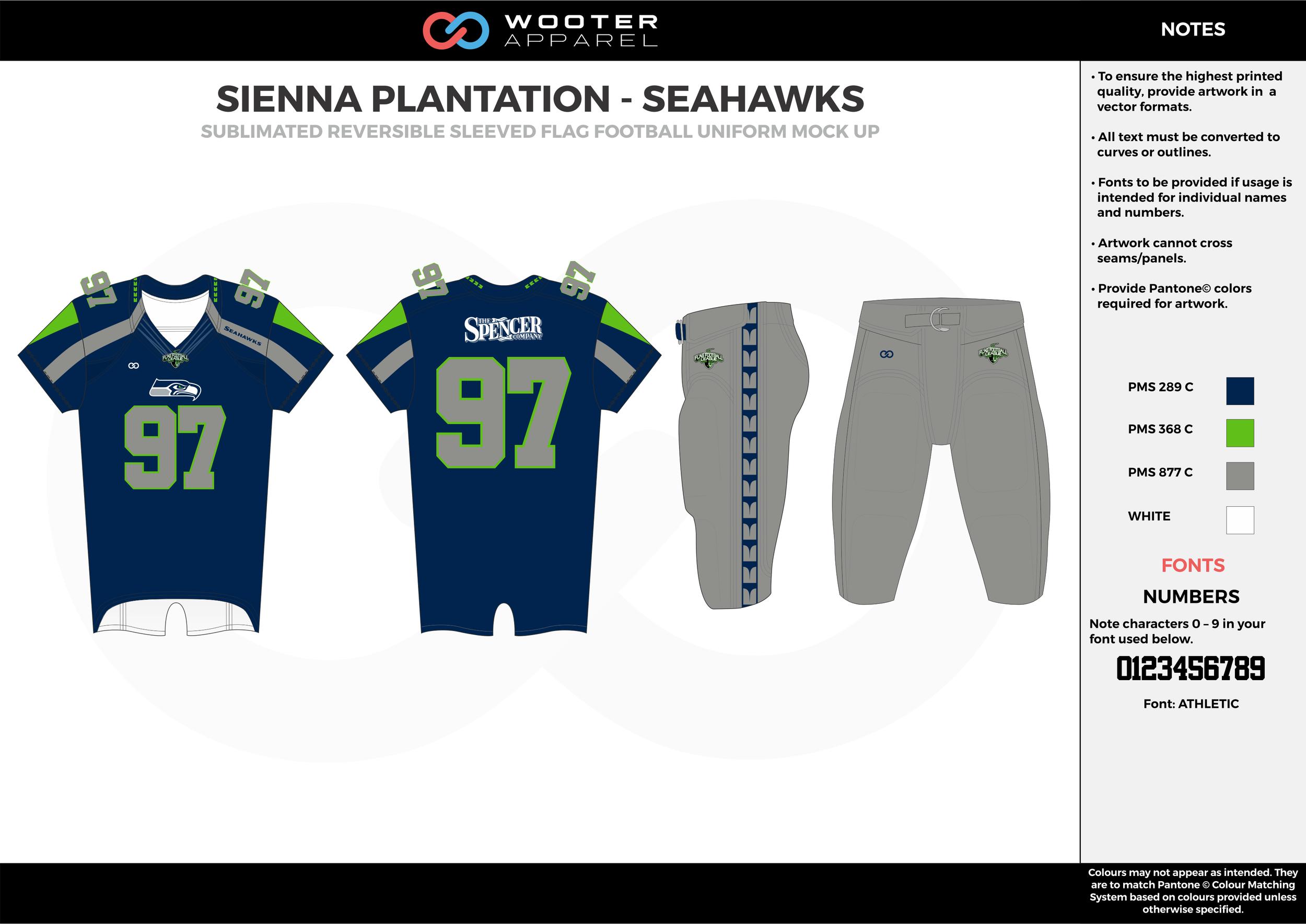 SIENNA PLANTATION - SEAHAWKS navy blue green gray white Football Uniform, Jersey, Pants, Integraded