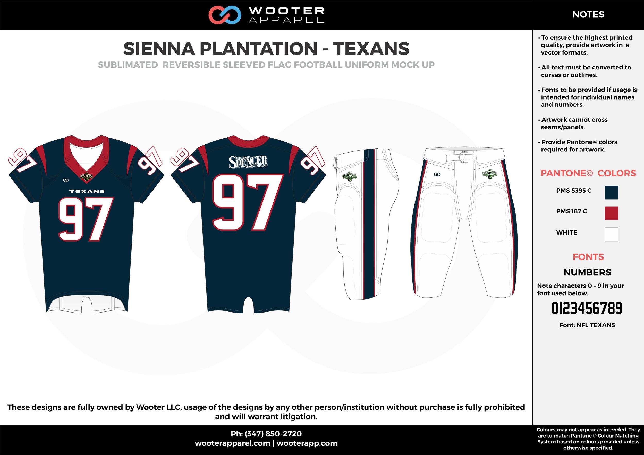 SIENNA PLANTATION - TEXANS  black red white Football Uniform, Jersey, Pants, Integraded