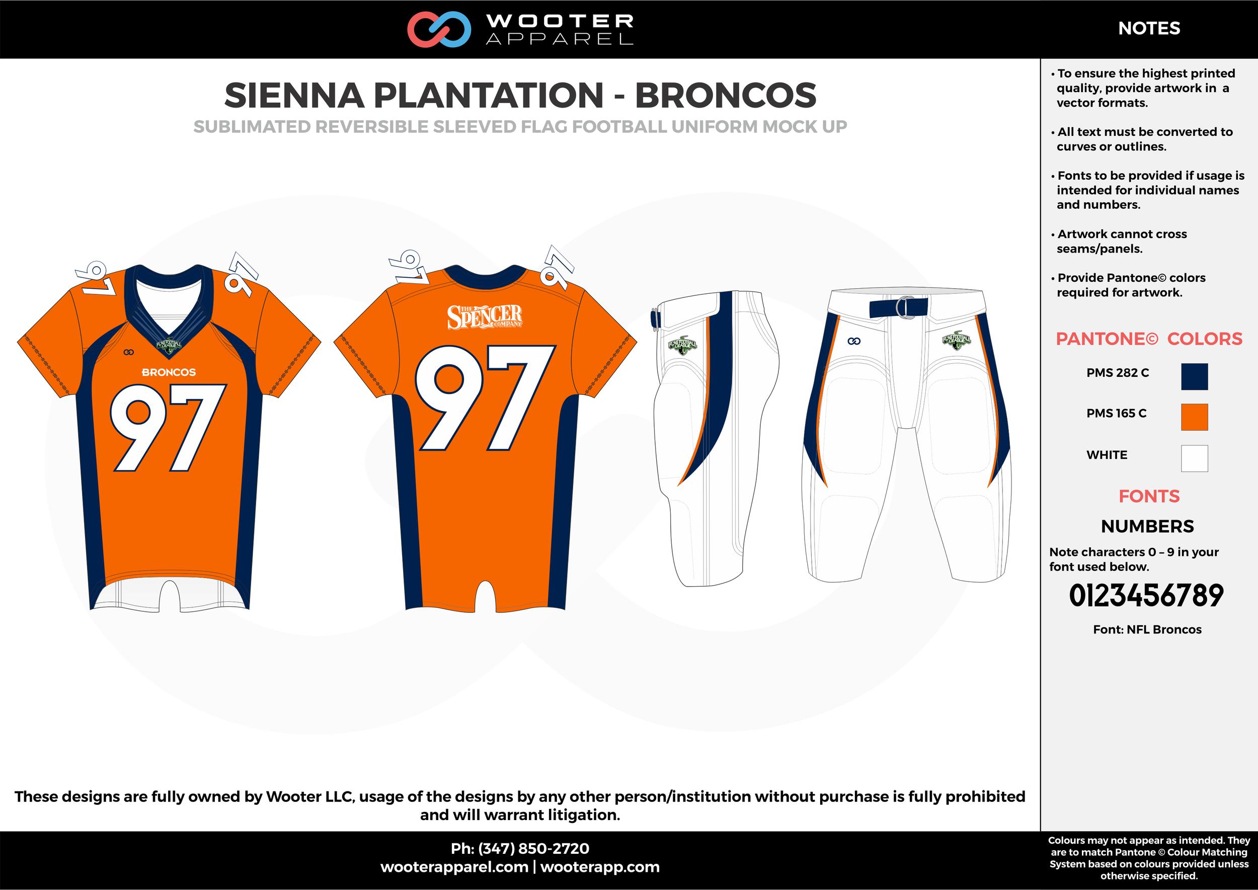SIENNA PLANTATION- BRONCOS orange white dark blue Football Uniform, Jersey, Pants, Integraded