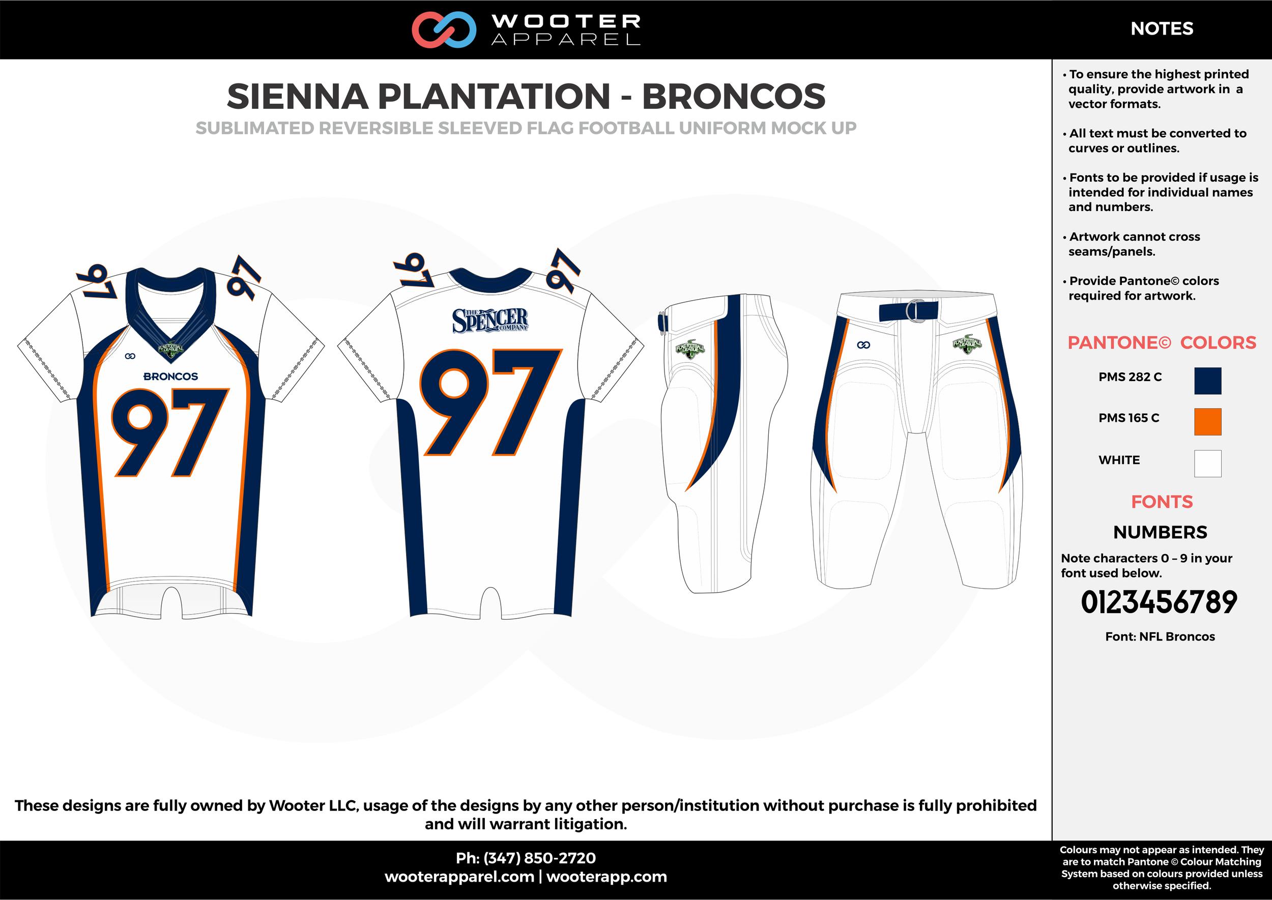 SIENNA PLANTATION - BRONCOS white red black Football Uniform, Jersey, Pants, Integraded
