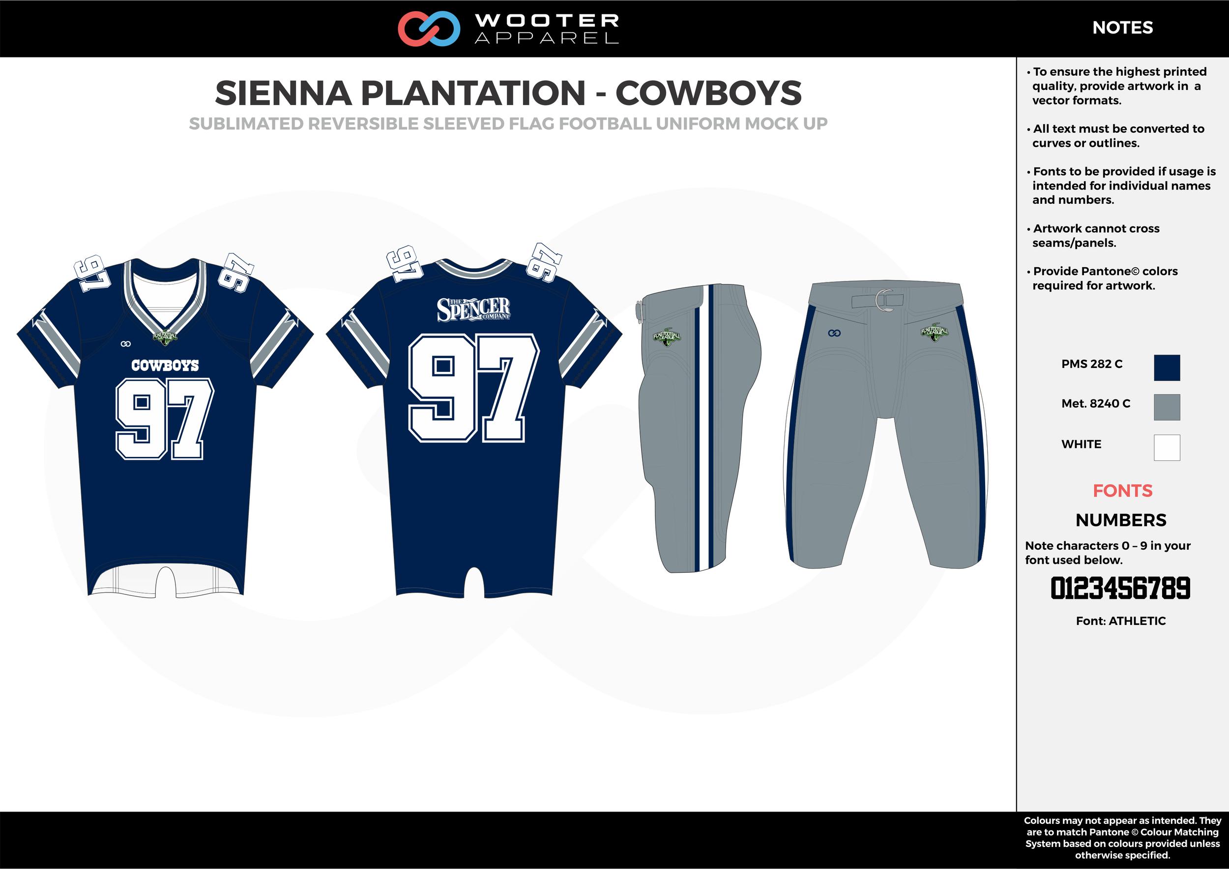 SIENNA PLANTATION - COWBOYS blue gray white Football Uniform, Jersey, Pants, Integraded