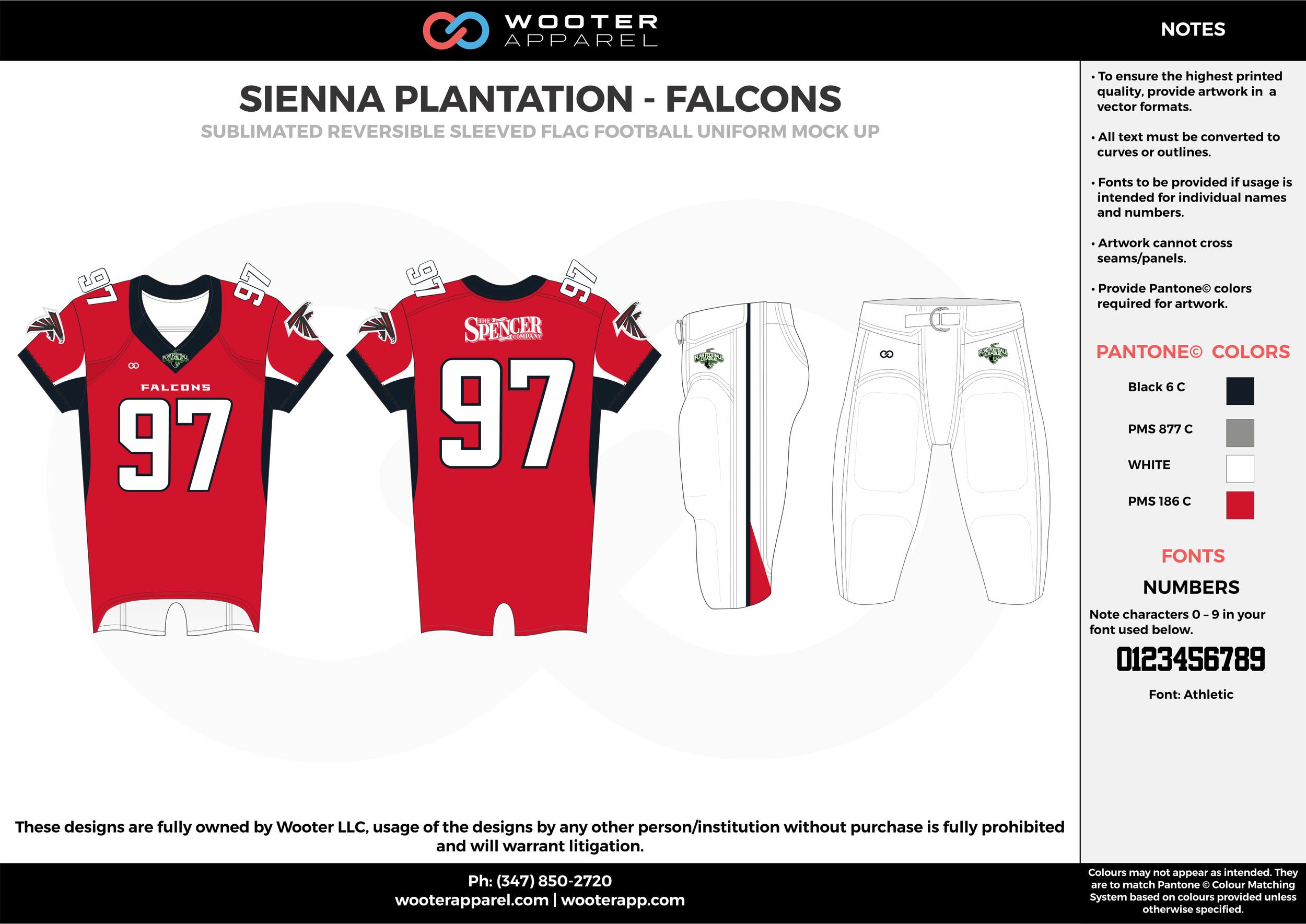 SIENNA PLANTATION - FALCONS red white gray black Football Uniform, Jersey, Pants, Integraded