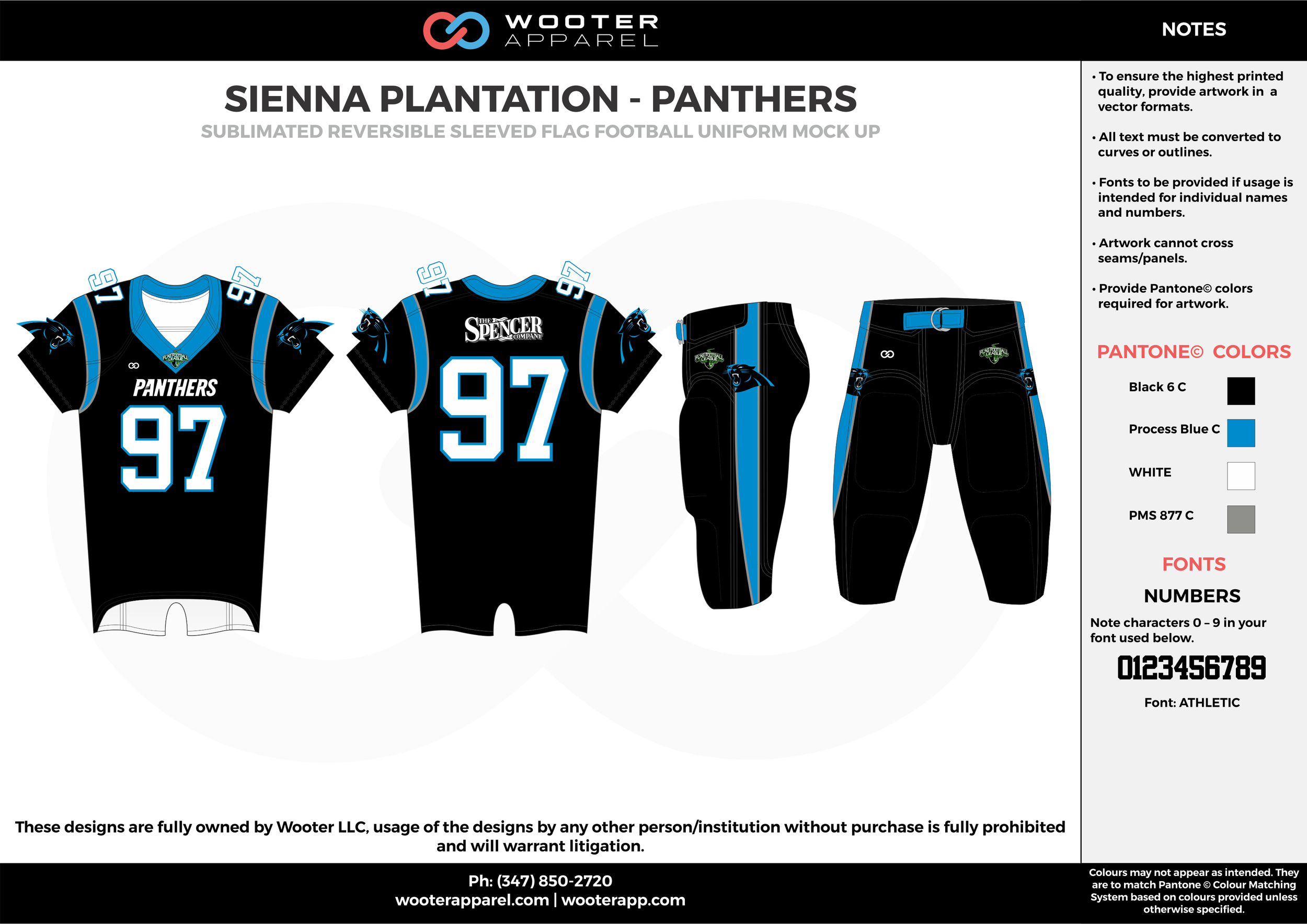 SIENNA PLANTATION - PANTHERS black blue gray white Football Uniform, Jersey, Pants, Integraded