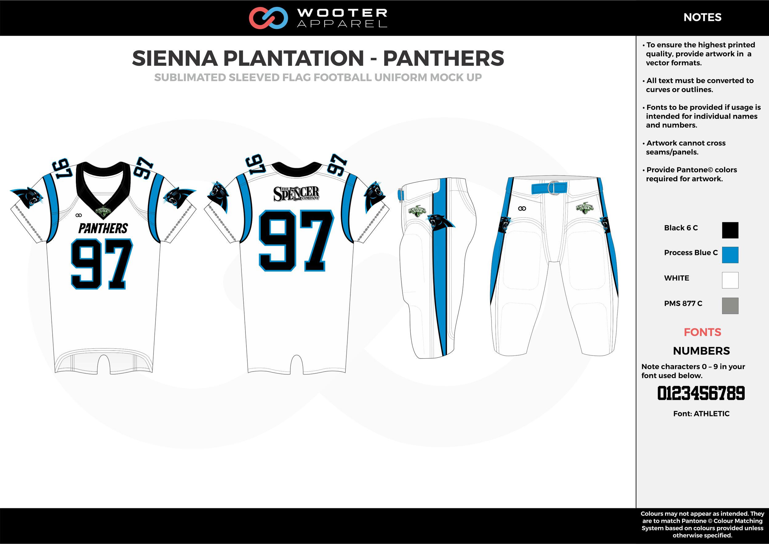 SIENNA PLANTATION - PANTHERS white blue gray Football Uniform, Jersey, Pants, Integraded
