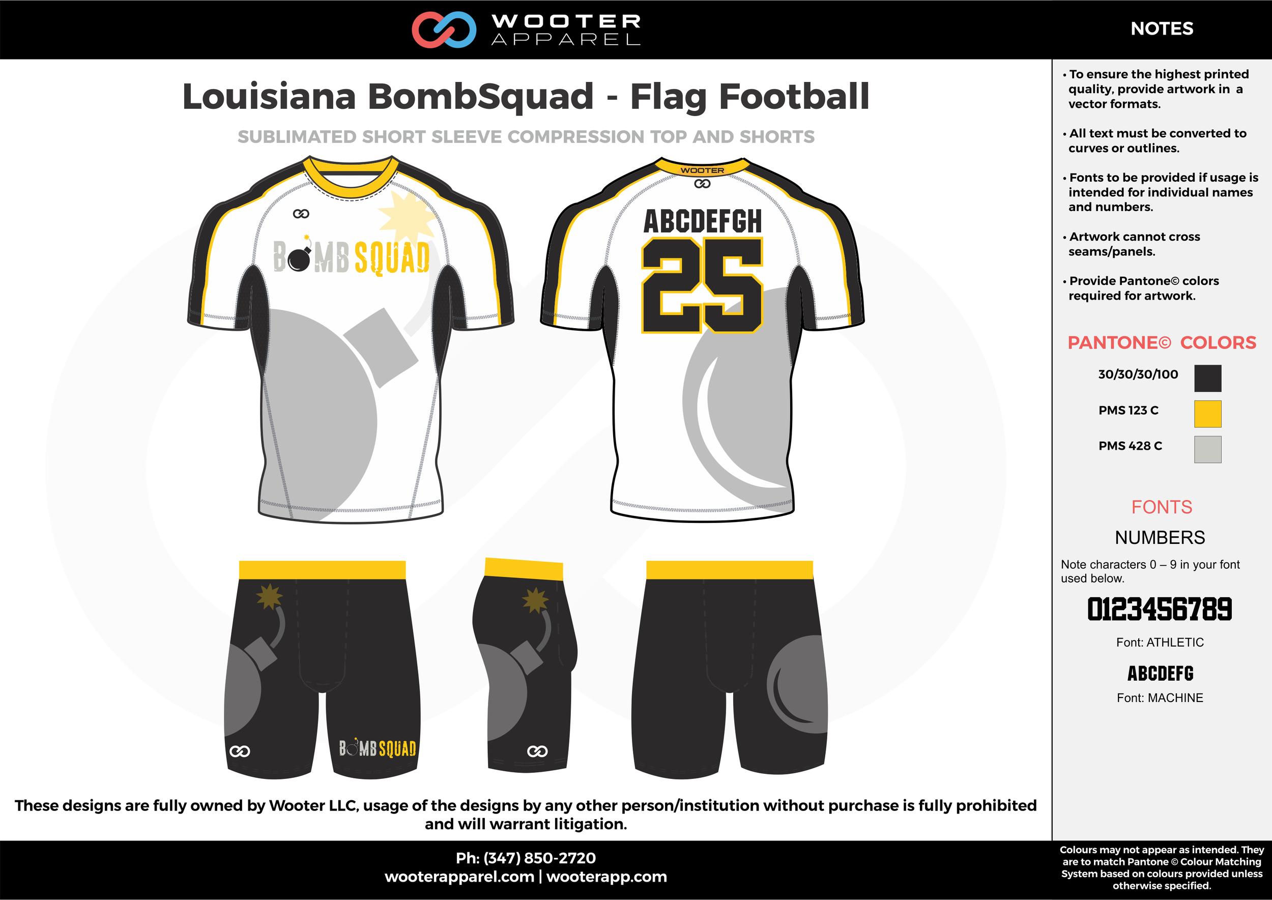 Louisiana BombSquad- Flag Football white black gray yellow flag football uniforms jerseys shorts