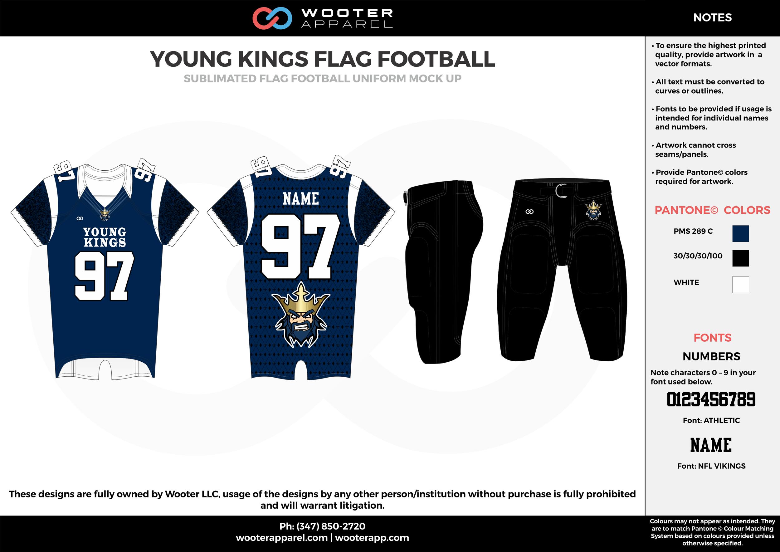 YOUNG KINGS FLAG FOOTBALL blue black white flag football uniforms jerseys pants