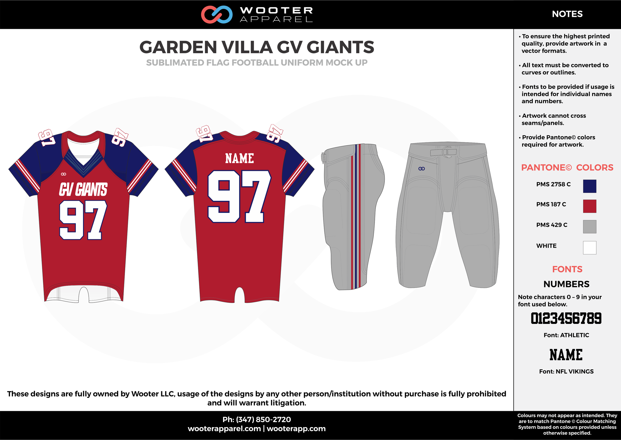 GARDEN VILLA GV GIANTS red blue gray white flag football uniforms jerseys pants